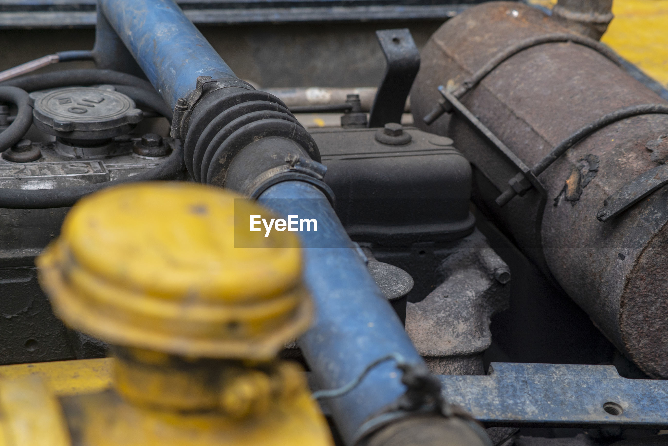 High angle view of vehicle engine