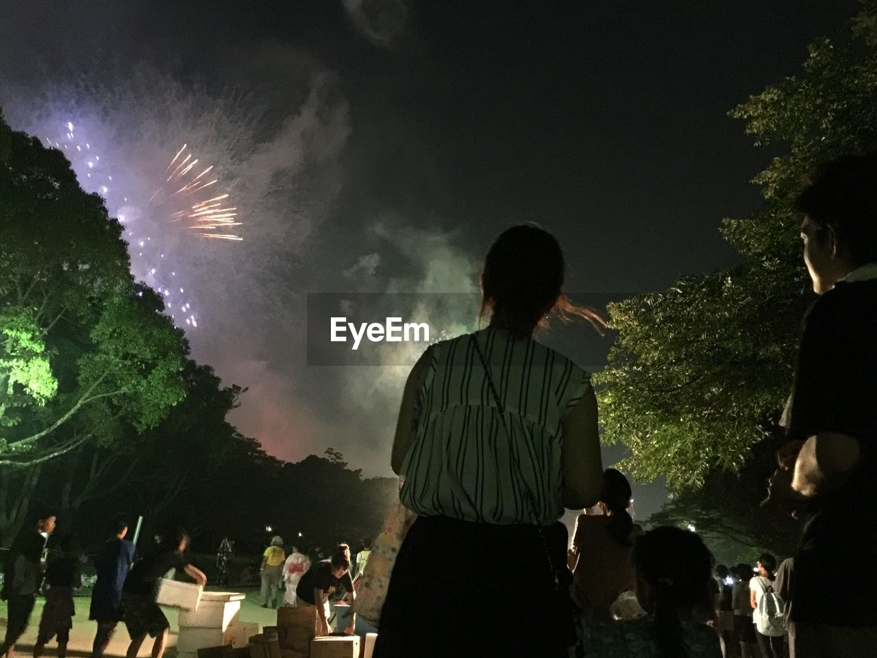 People Looking At Firework Display During Celebration At Night