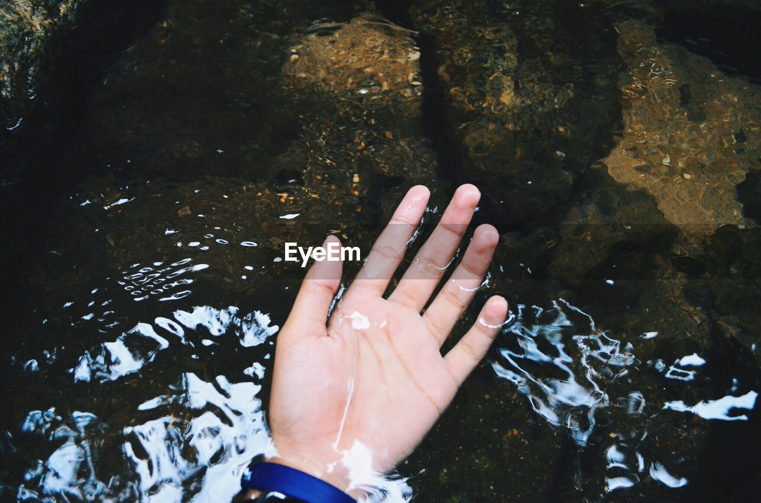 Cropped hand in water