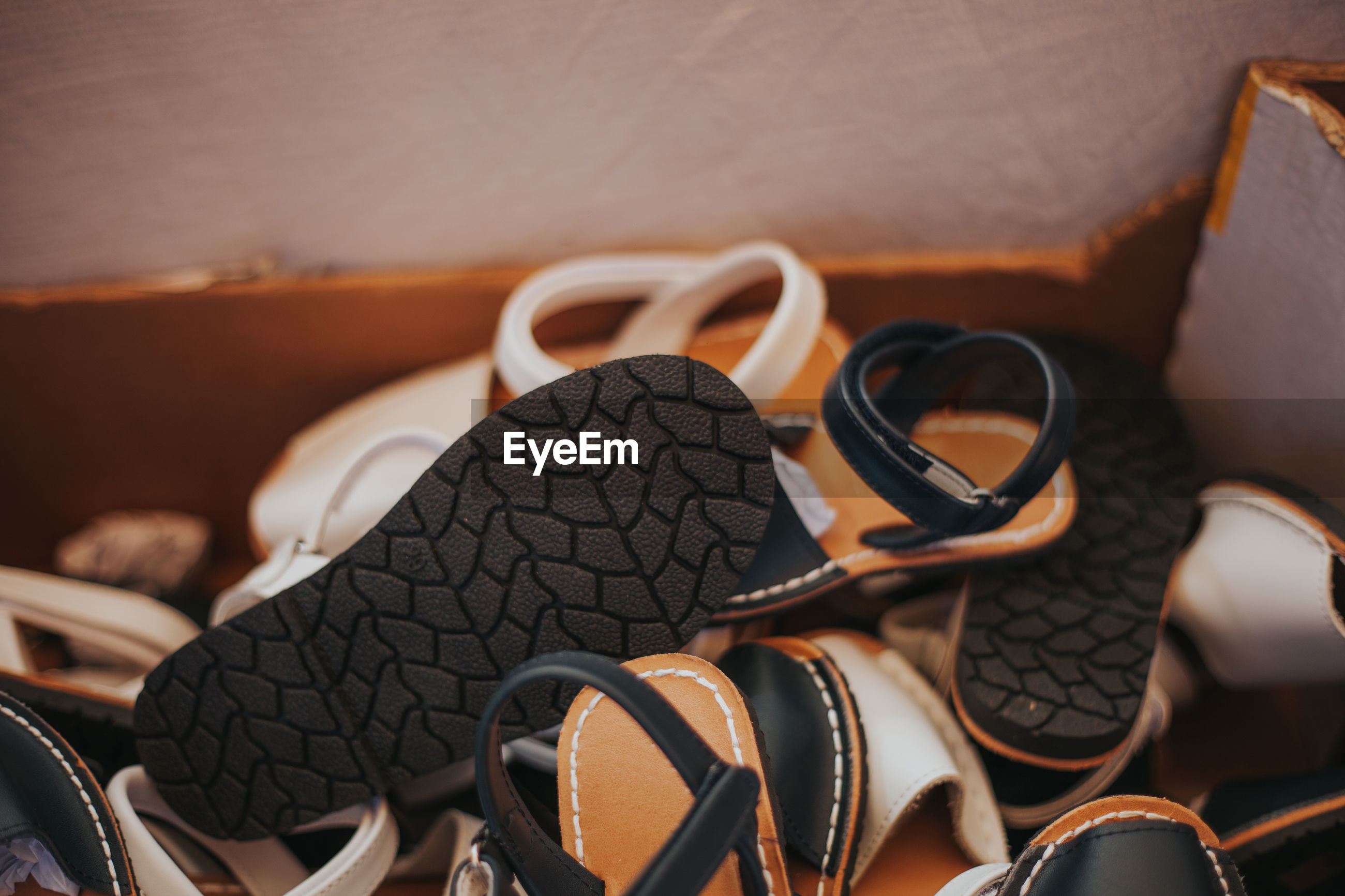 High angle view of sandals