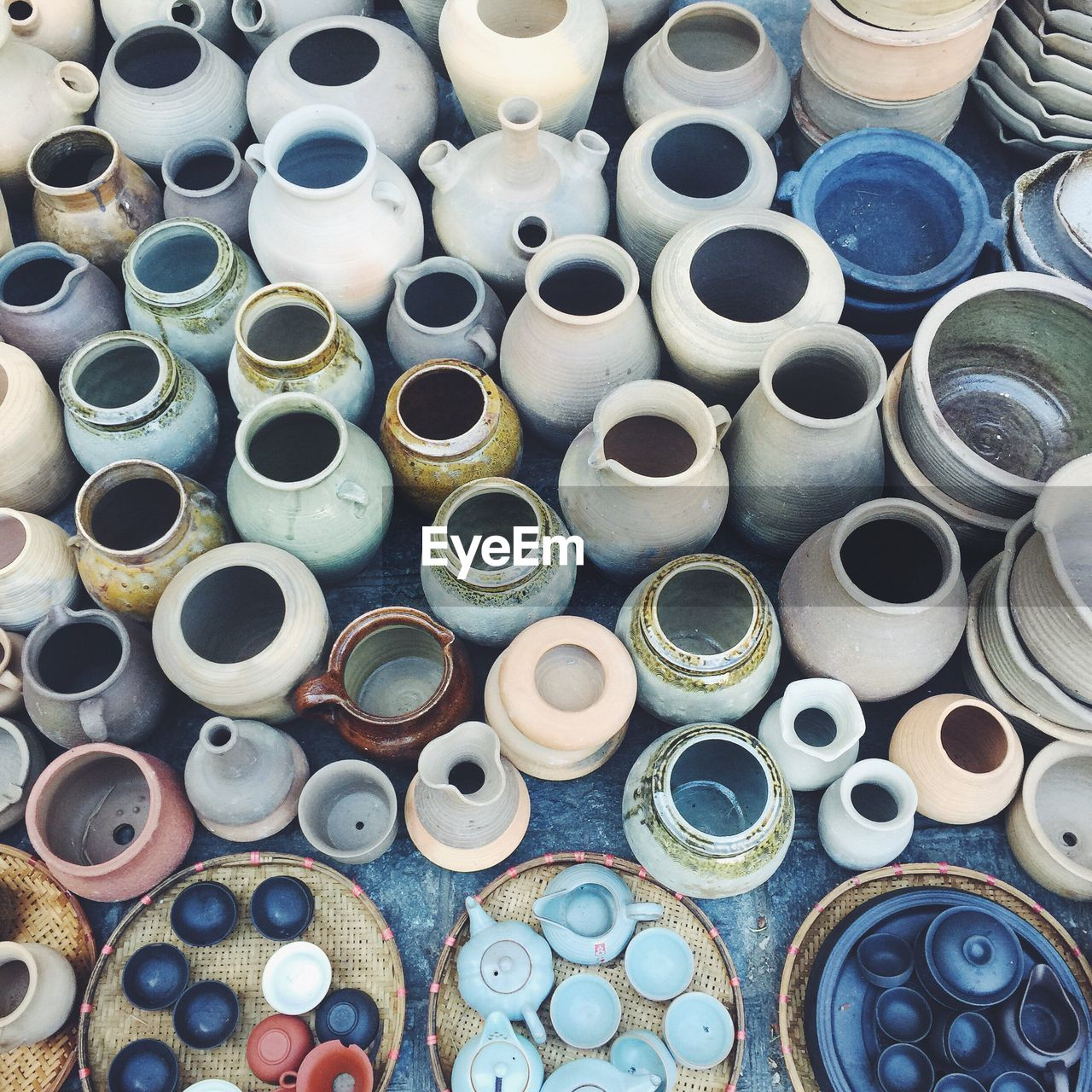 High Angle View Of Various Earthen Pots For Sale At Market Stall