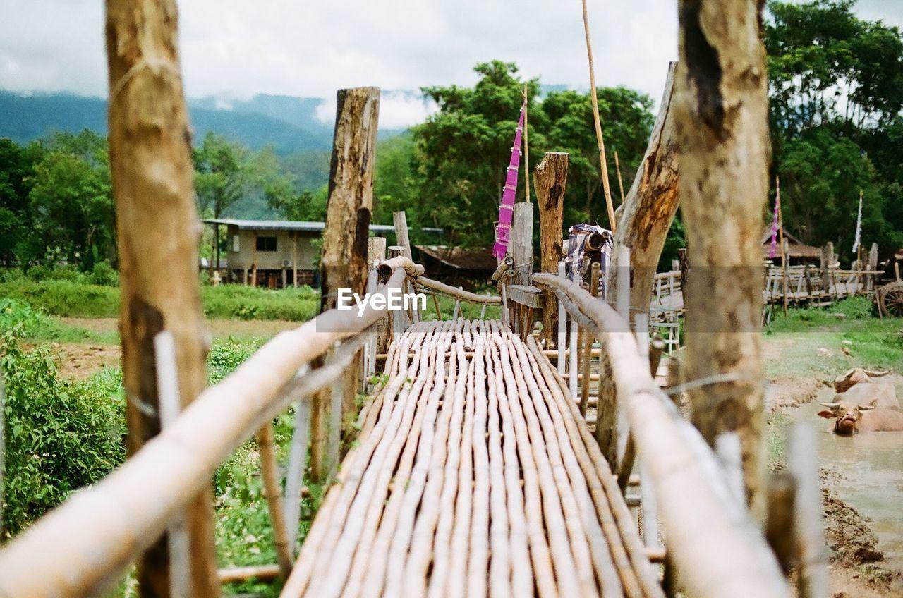 Empty wooden footbridge on land