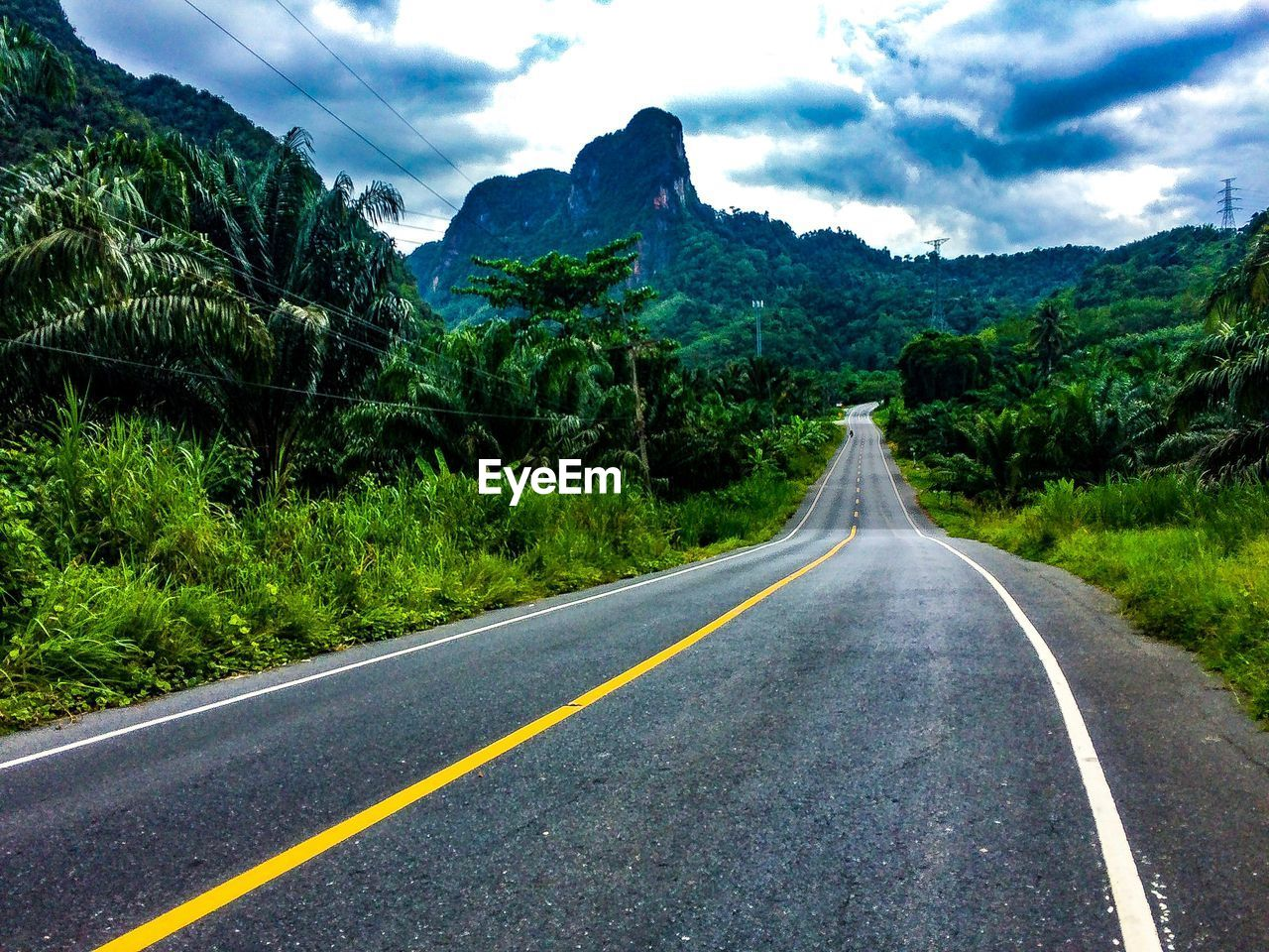 road, mountain, the way forward, transportation, direction, sign, symbol, cloud - sky, marking, road marking, sky, plant, beauty in nature, no people, tree, landscape, mountain range, environment, scenics - nature, nature, diminishing perspective, outdoors, dividing line, long