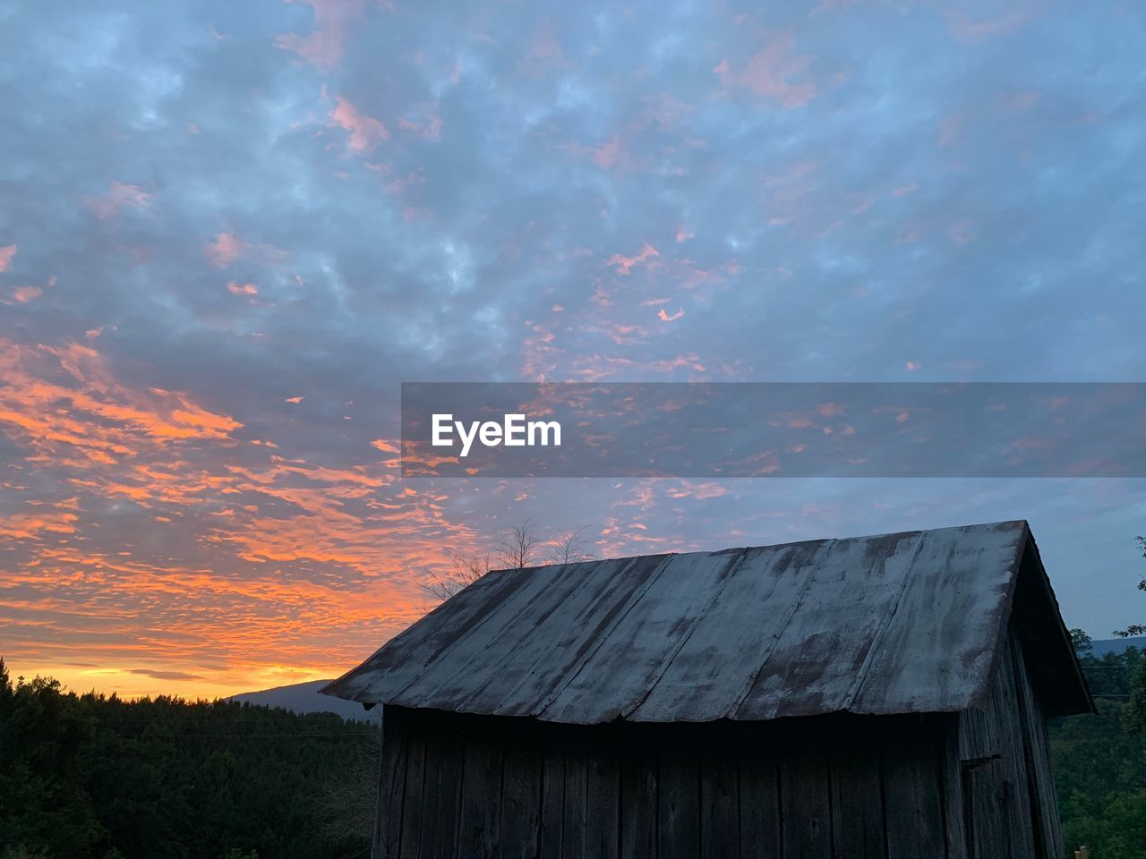 sky, cloud - sky, sunset, built structure, architecture, nature, building exterior, wood - material, no people, beauty in nature, plant, orange color, scenics - nature, agricultural building, house, outdoors, abandoned, barn, field, land