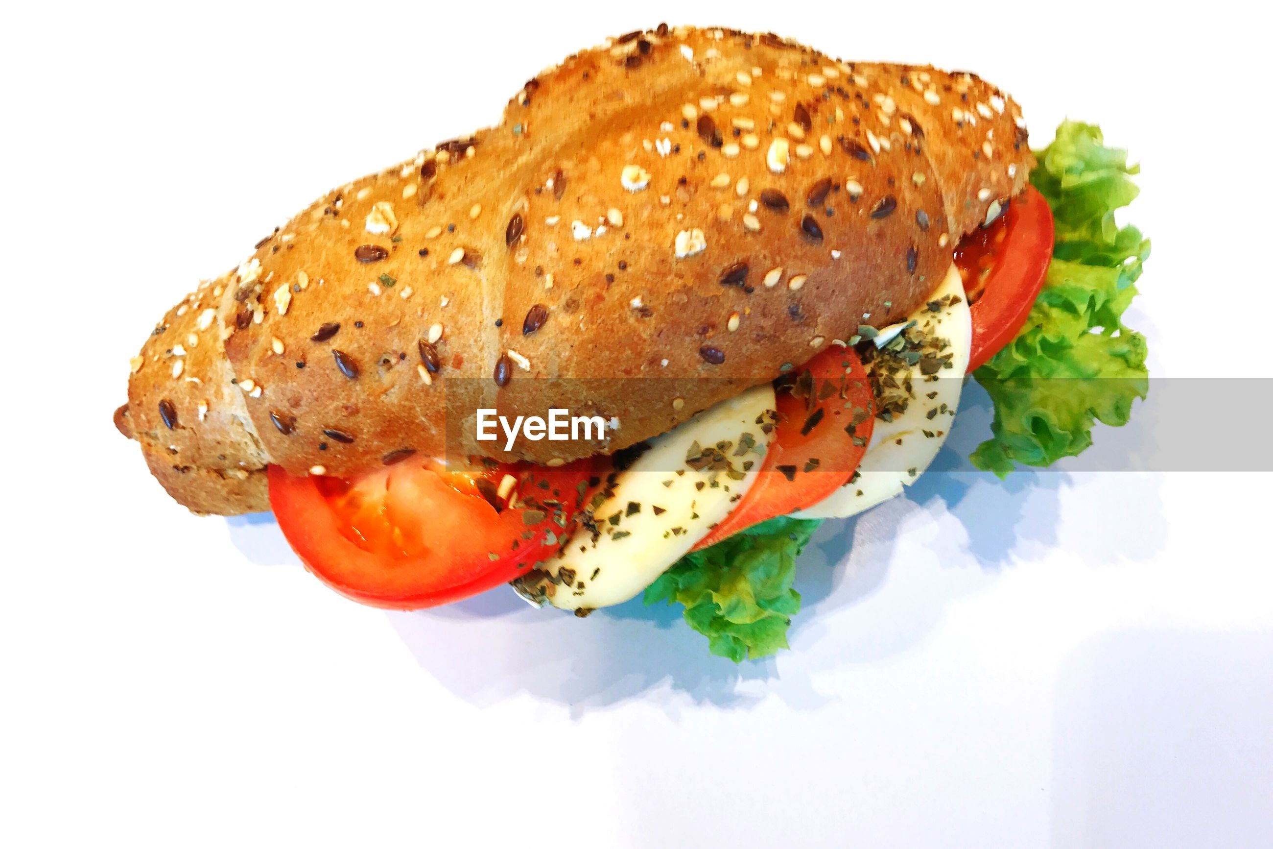High angle view of sandwich on white background