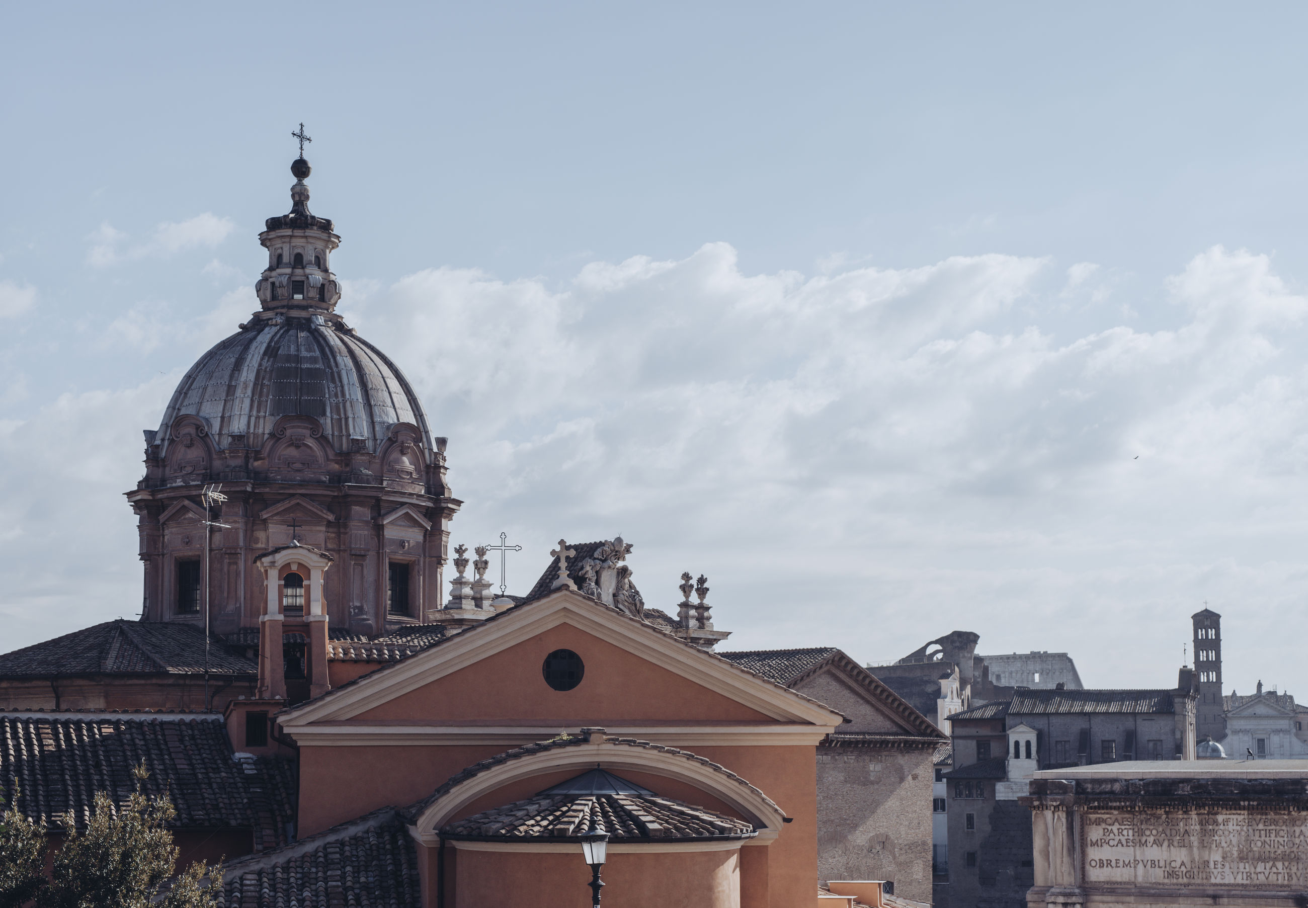 Panoramic view over the historical rome