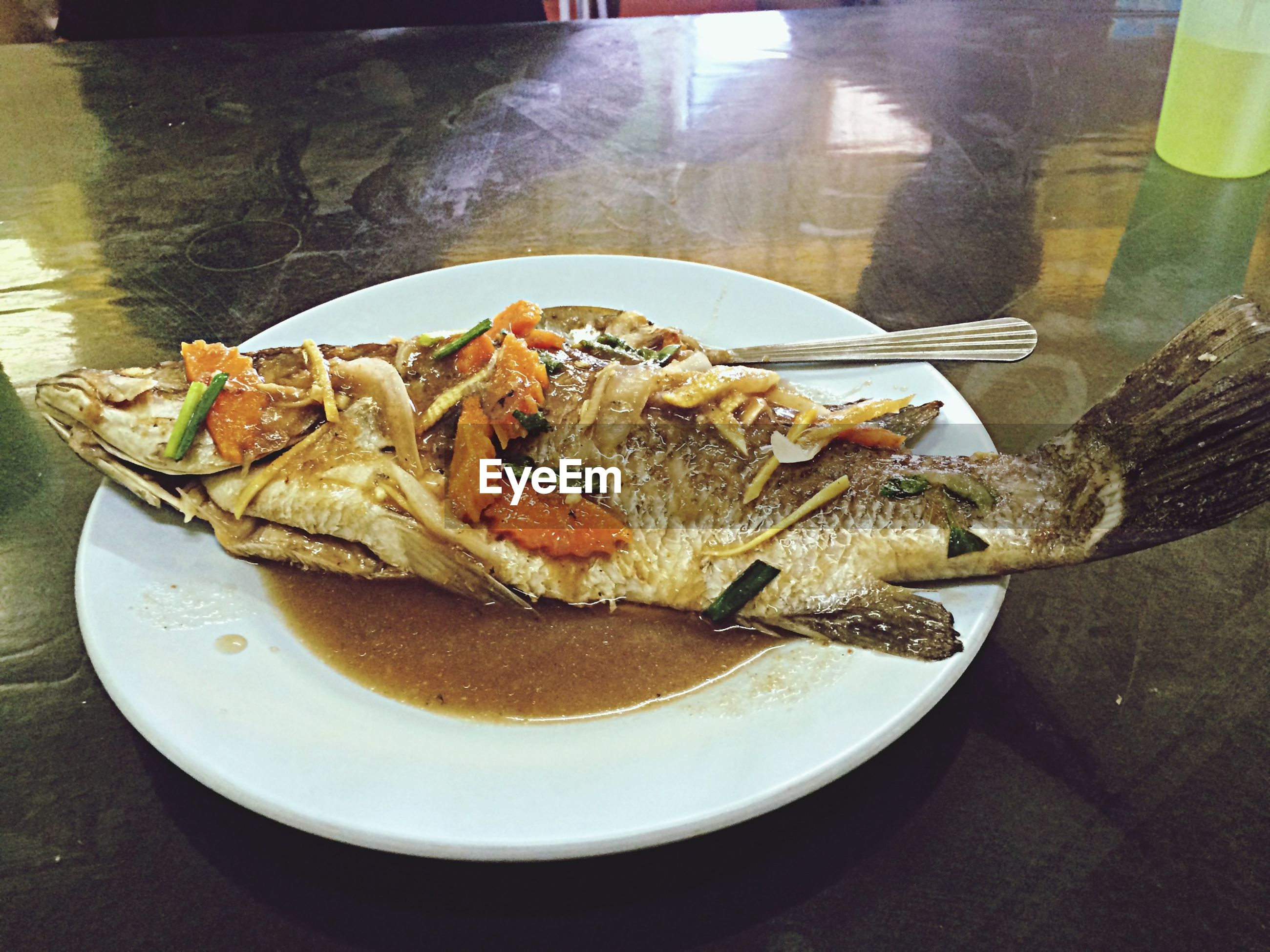 food and drink, food, indoors, freshness, plate, seafood, table, ready-to-eat, high angle view, fish, healthy eating, meat, close-up, meal, serving size, still life, served, no people, day, vegetable