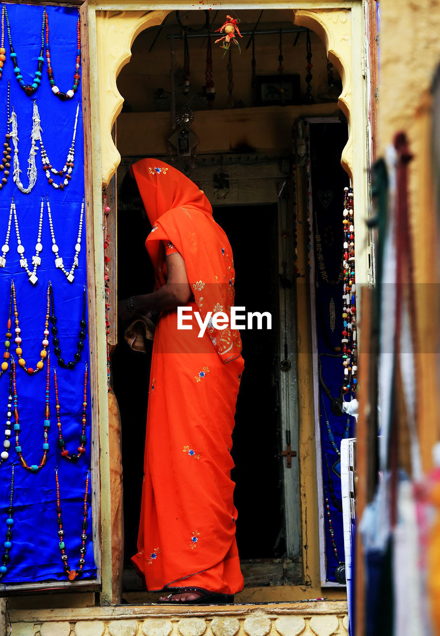 Rear View Of An Indian Woman In Sari