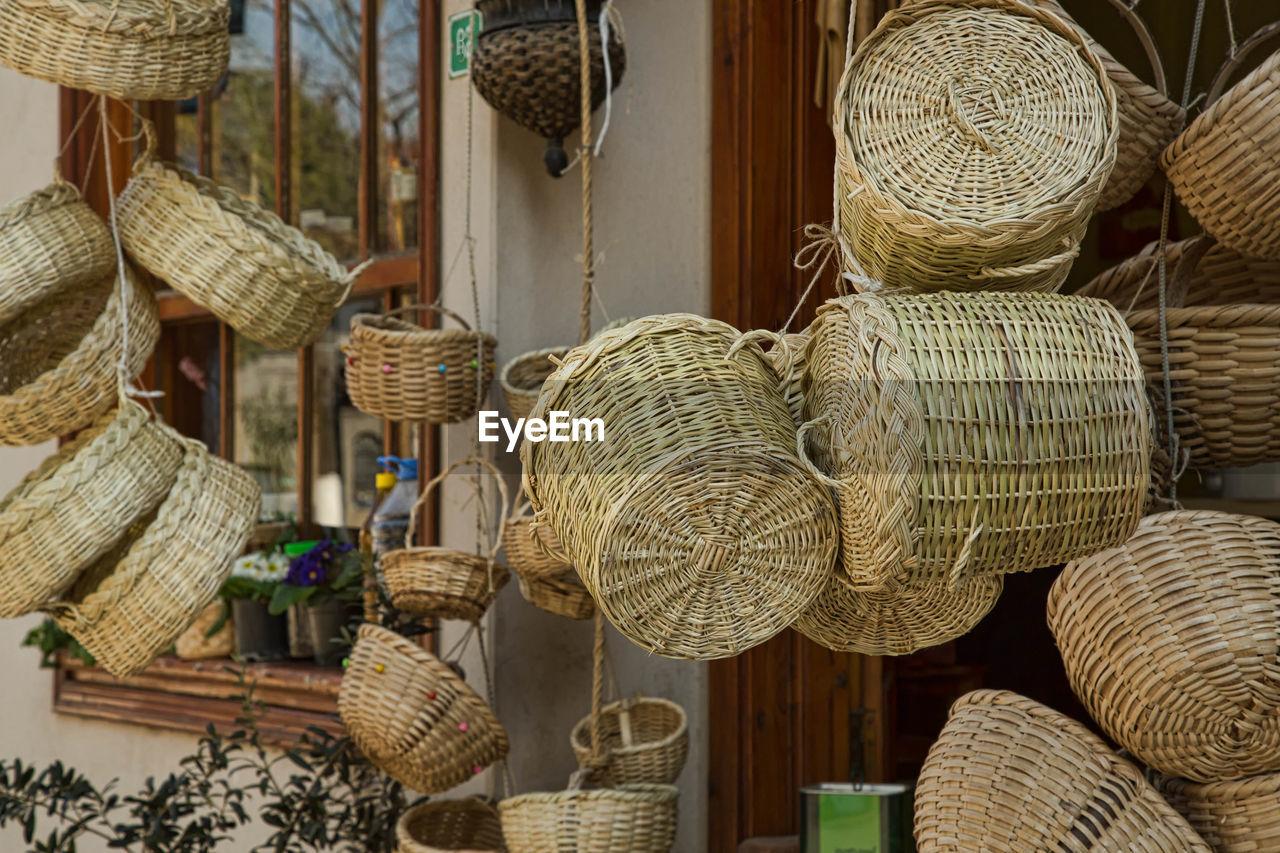Close-Up Of Baskets Hanging