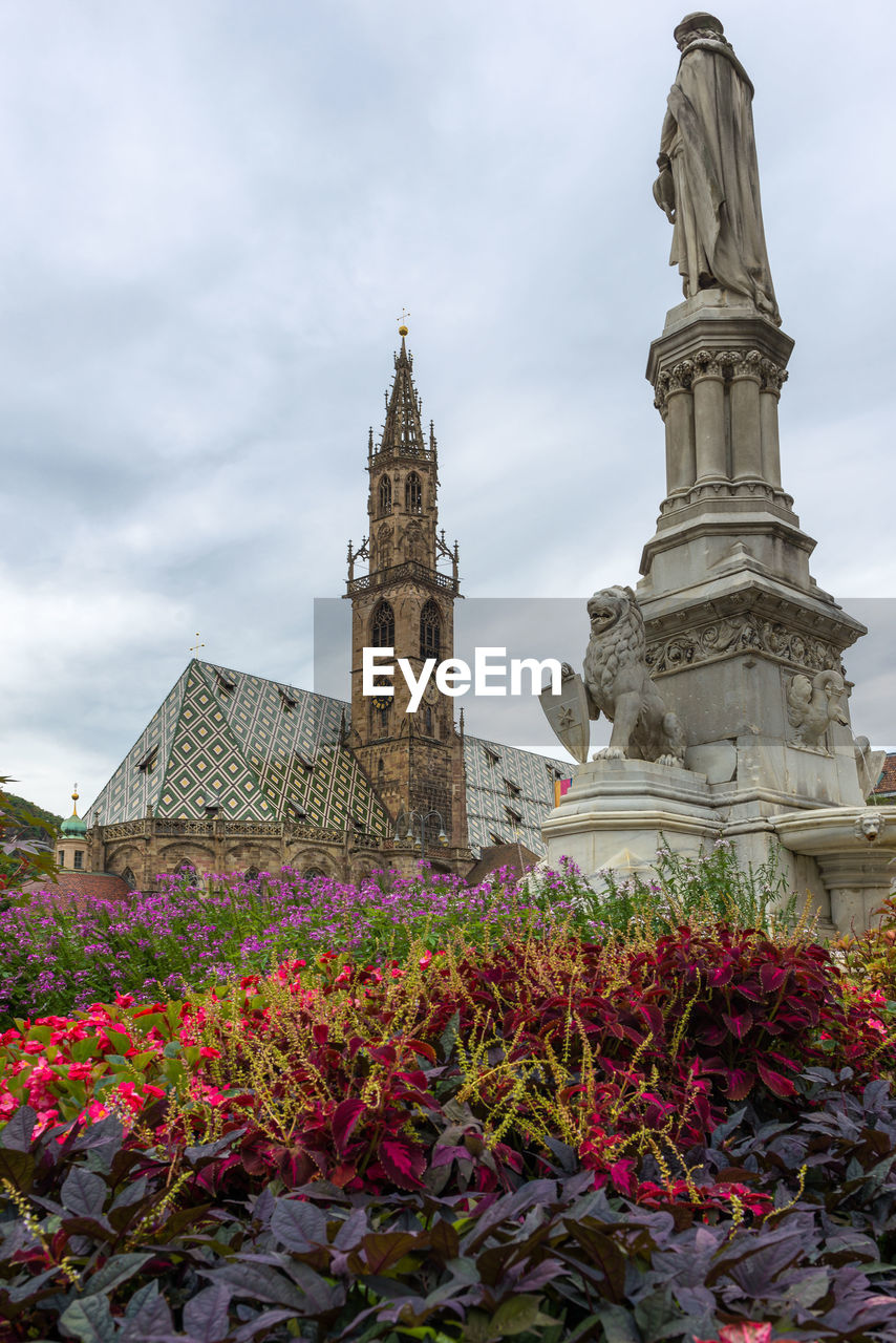 architecture, built structure, building exterior, flower, sky, tower, history, cloud - sky, day, travel destinations, outdoors, low angle view, religion, clock tower, no people, plant, nature, beauty in nature, city