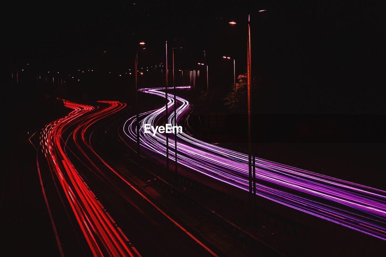 illuminated, night, light trail, speed, long exposure, red, transportation, road, street light, no people, motion, outdoors, high street, futuristic