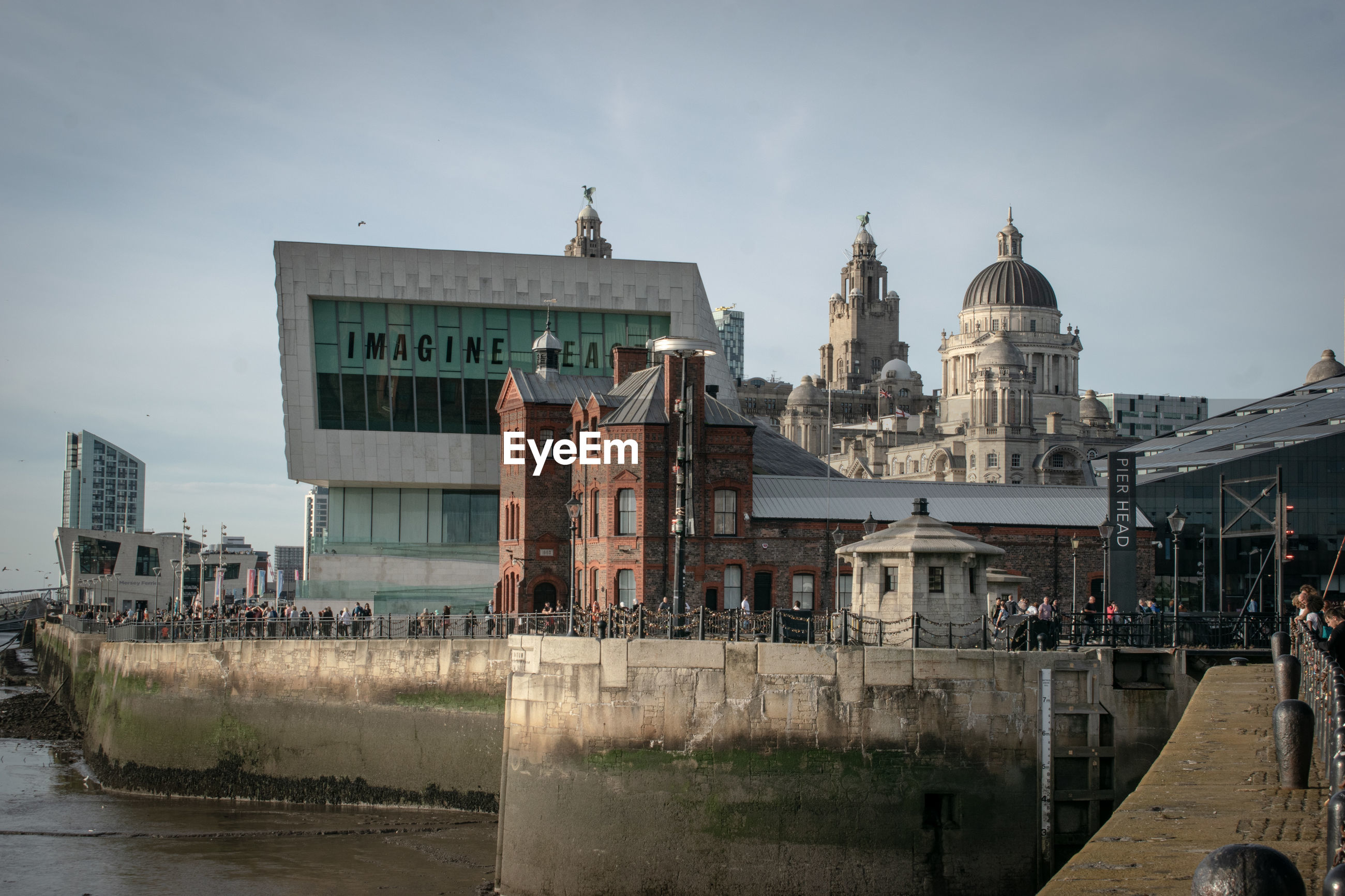 View of buildings in city,  liverpool uk, different ages in unity.