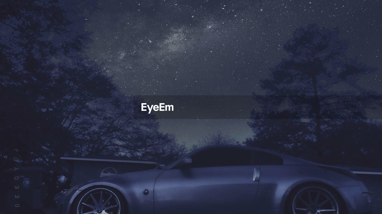 tree, car, night, star - space, land vehicle, transportation, no people, sky, nature, beauty in nature, outdoors, astronomy, galaxy