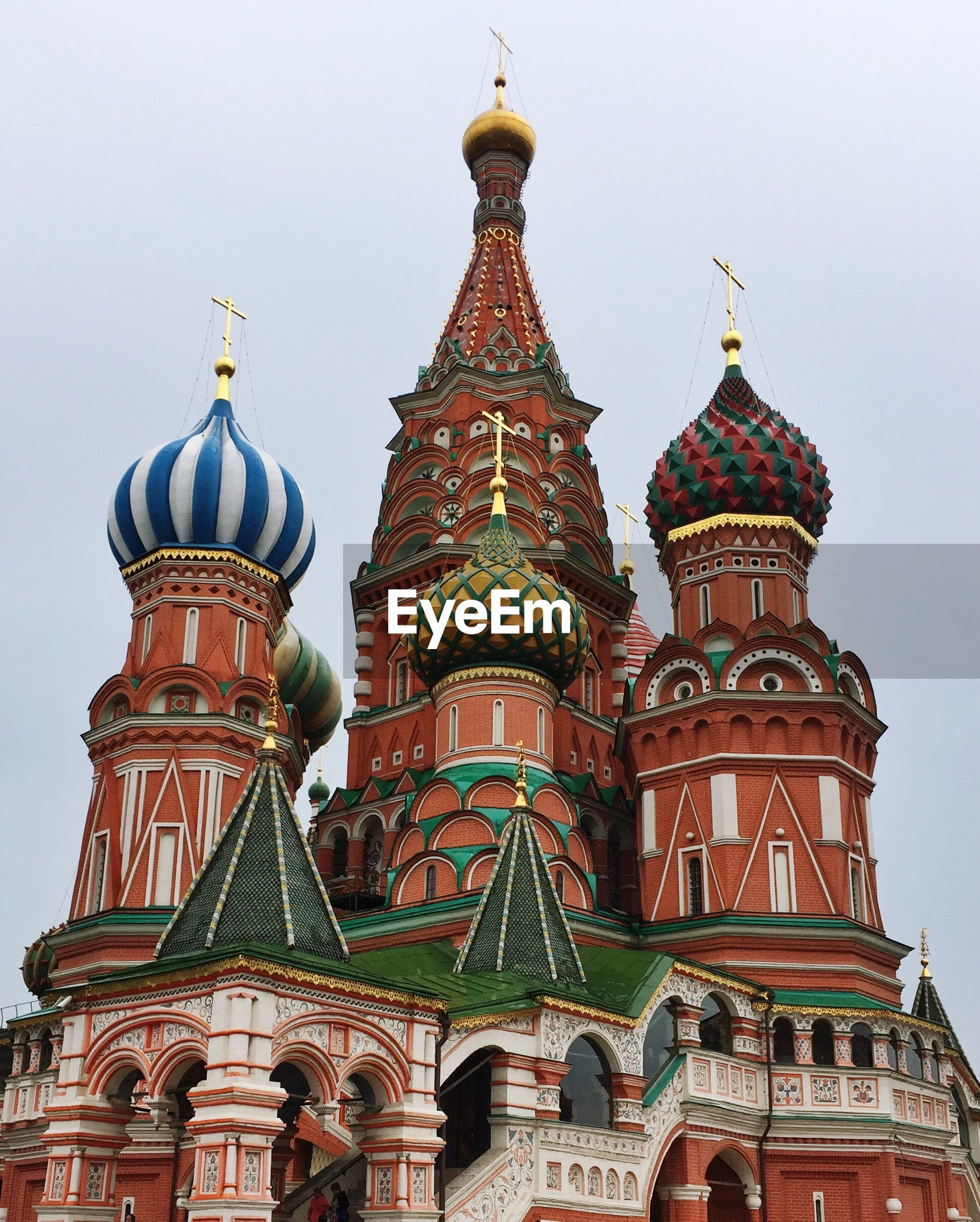 Low angle view of st basils cathedral against clear sky