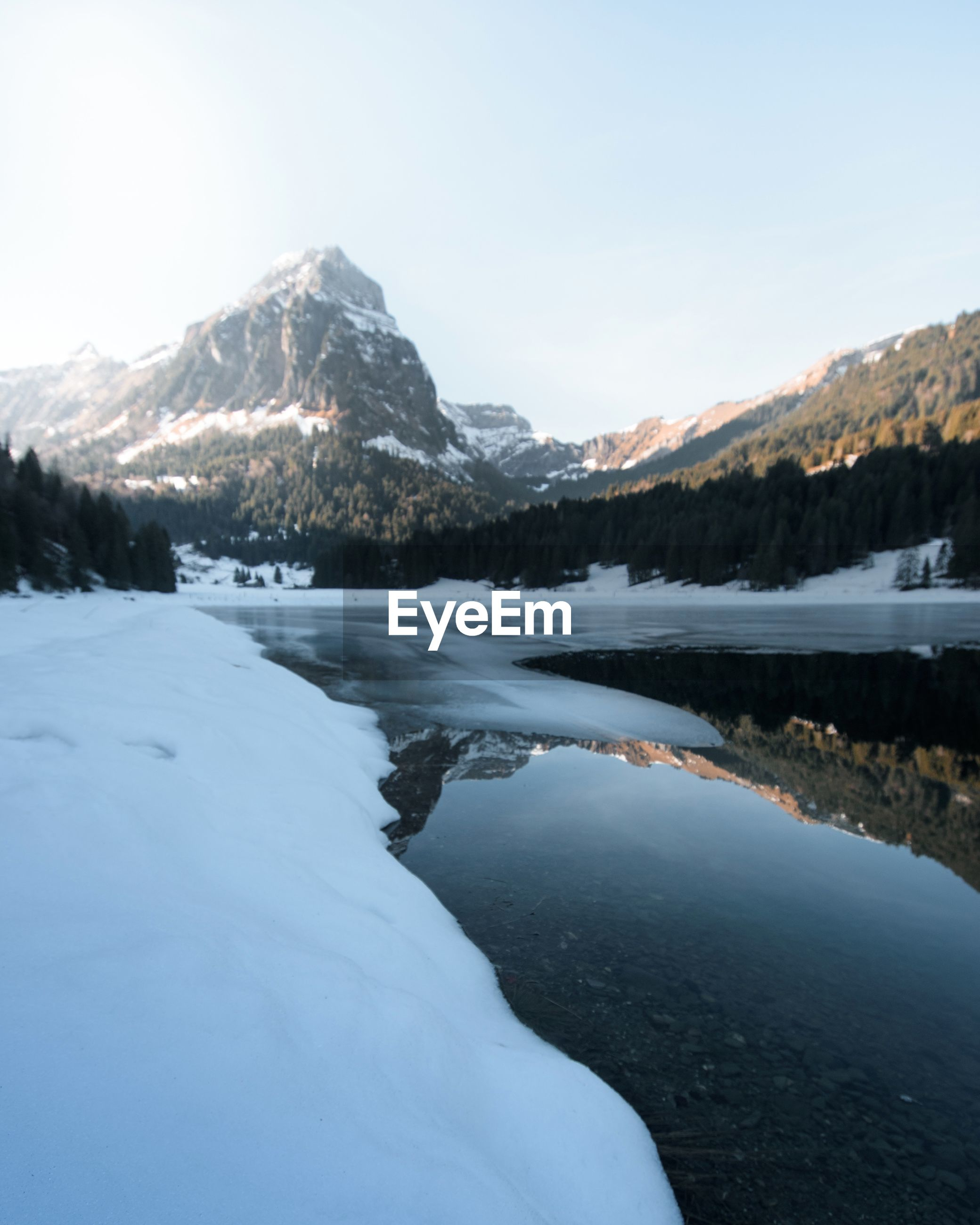 snow, winter, cold temperature, mountain, season, tranquil scene, scenics, tranquility, water, beauty in nature, mountain range, snowcapped mountain, frozen, weather, lake, clear sky, nature, covering, landscape, non-urban scene
