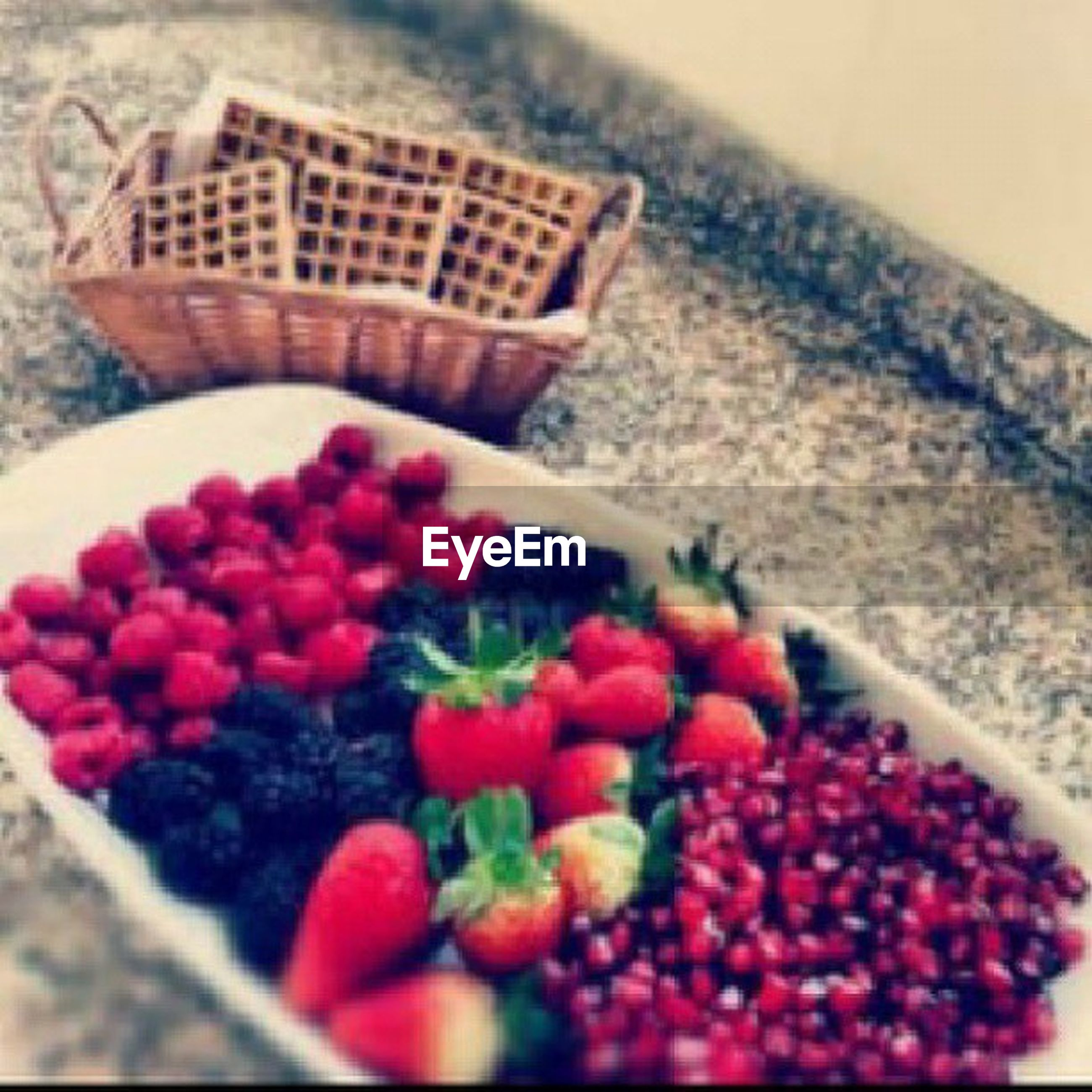 freshness, food and drink, food, fruit, red, healthy eating, close-up, selective focus, indoors, still life, focus on foreground, basket, abundance, high angle view, flower, no people, table, strawberry, large group of objects, berry fruit