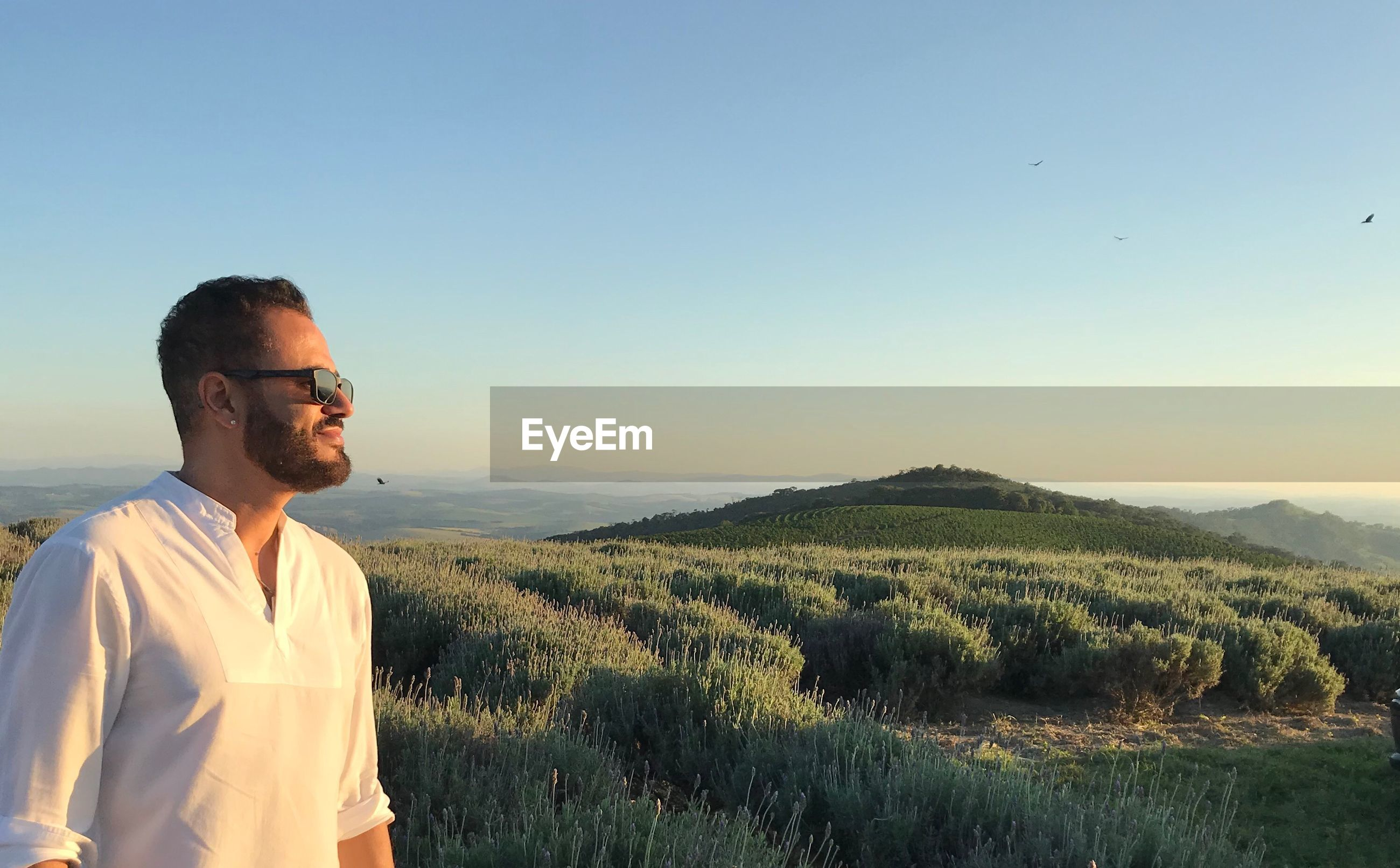 Man wearing sunglasses standing on grassy mountain against clear sky during sunset