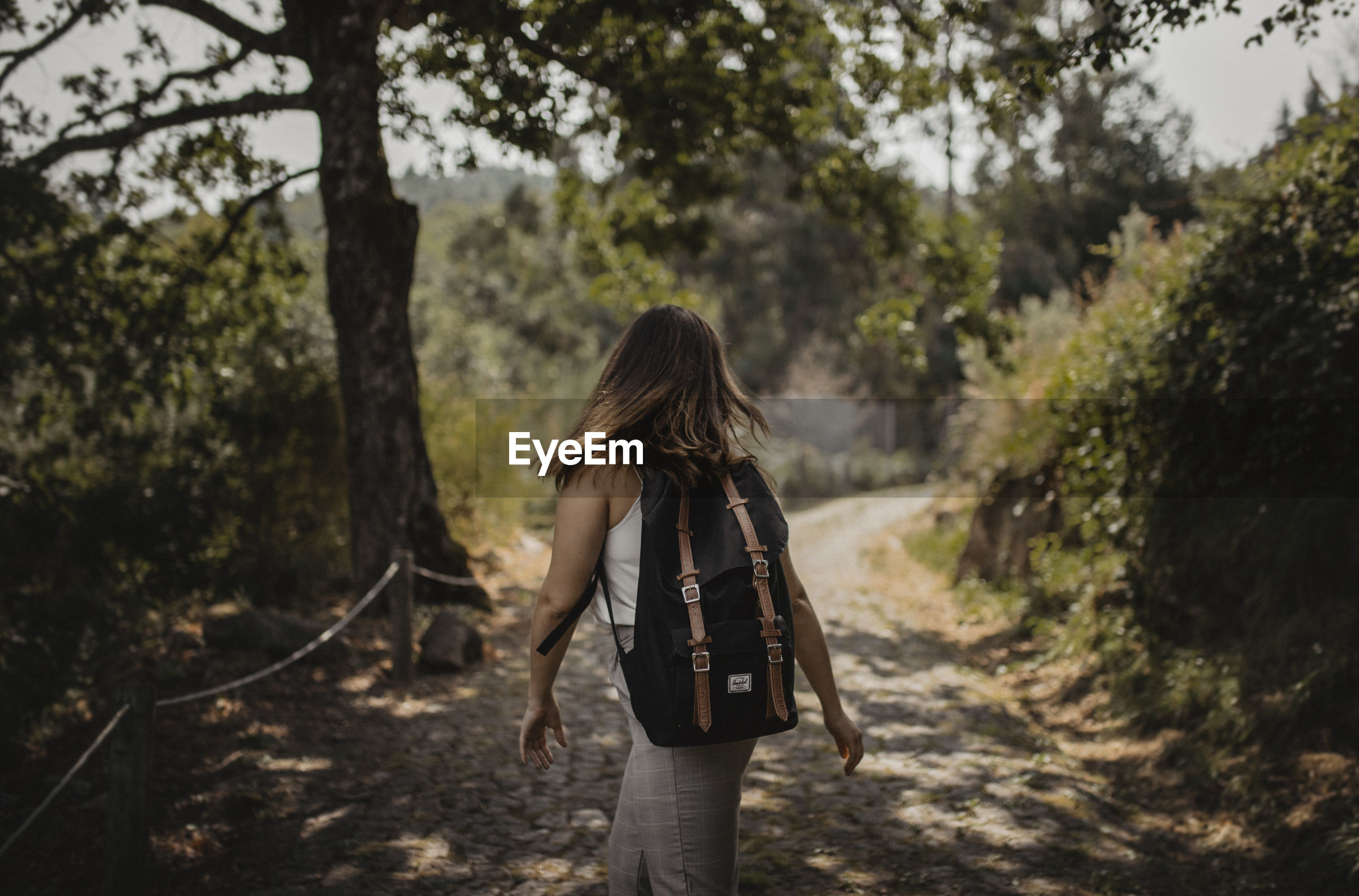 Rear view of woman walking in forest with backpack