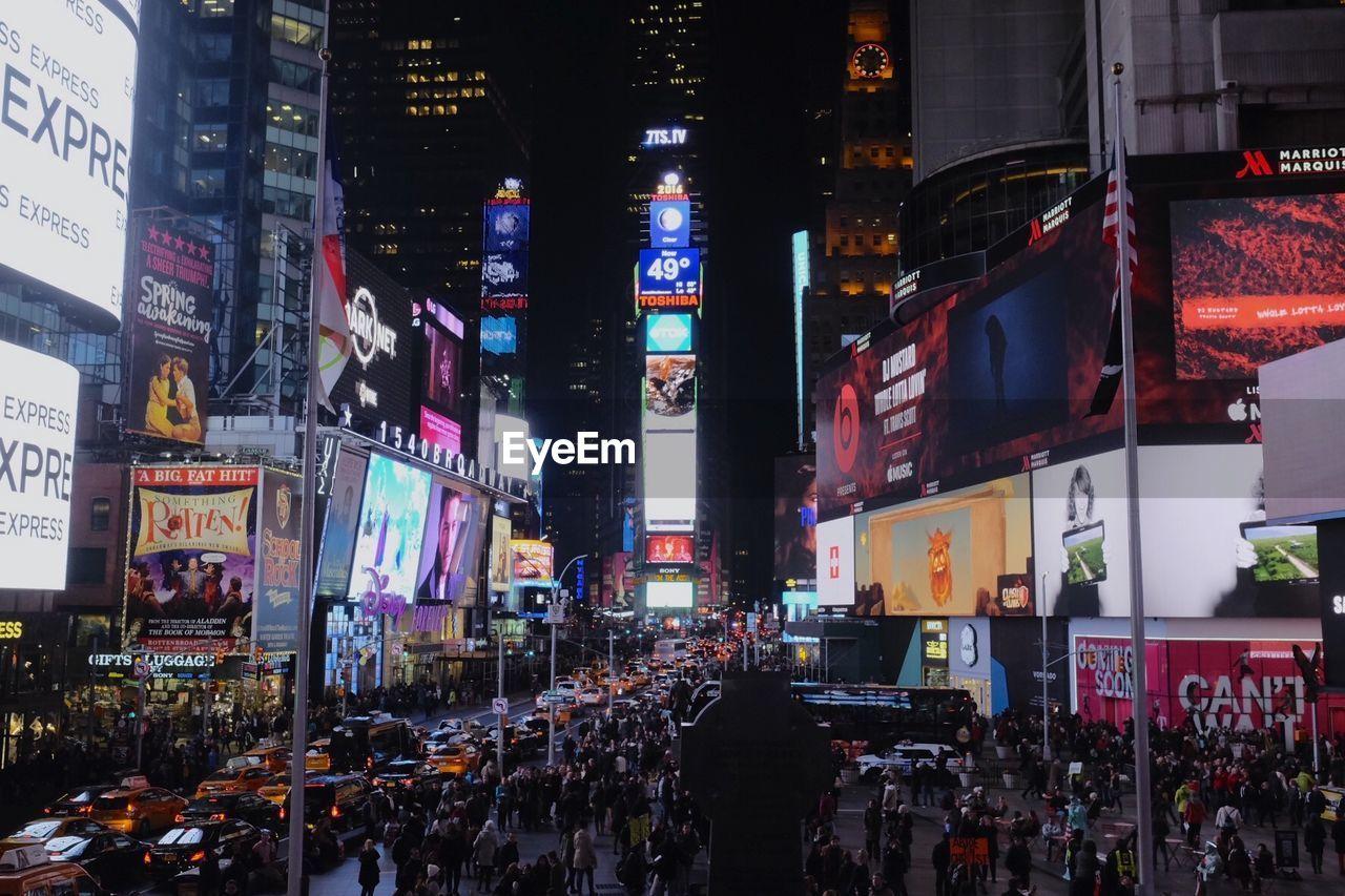 VIEW OF ILLUMINATED CITYSCAPE