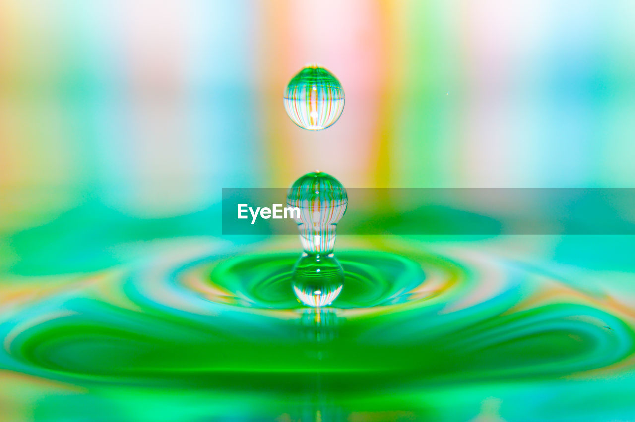 water, drop, no people, close-up, selective focus, motion, green color, reflection, indoors, blue, purity, rippled, nature, splashing, falling, focus on foreground, waterfront, multi colored, turquoise colored, high-speed photography