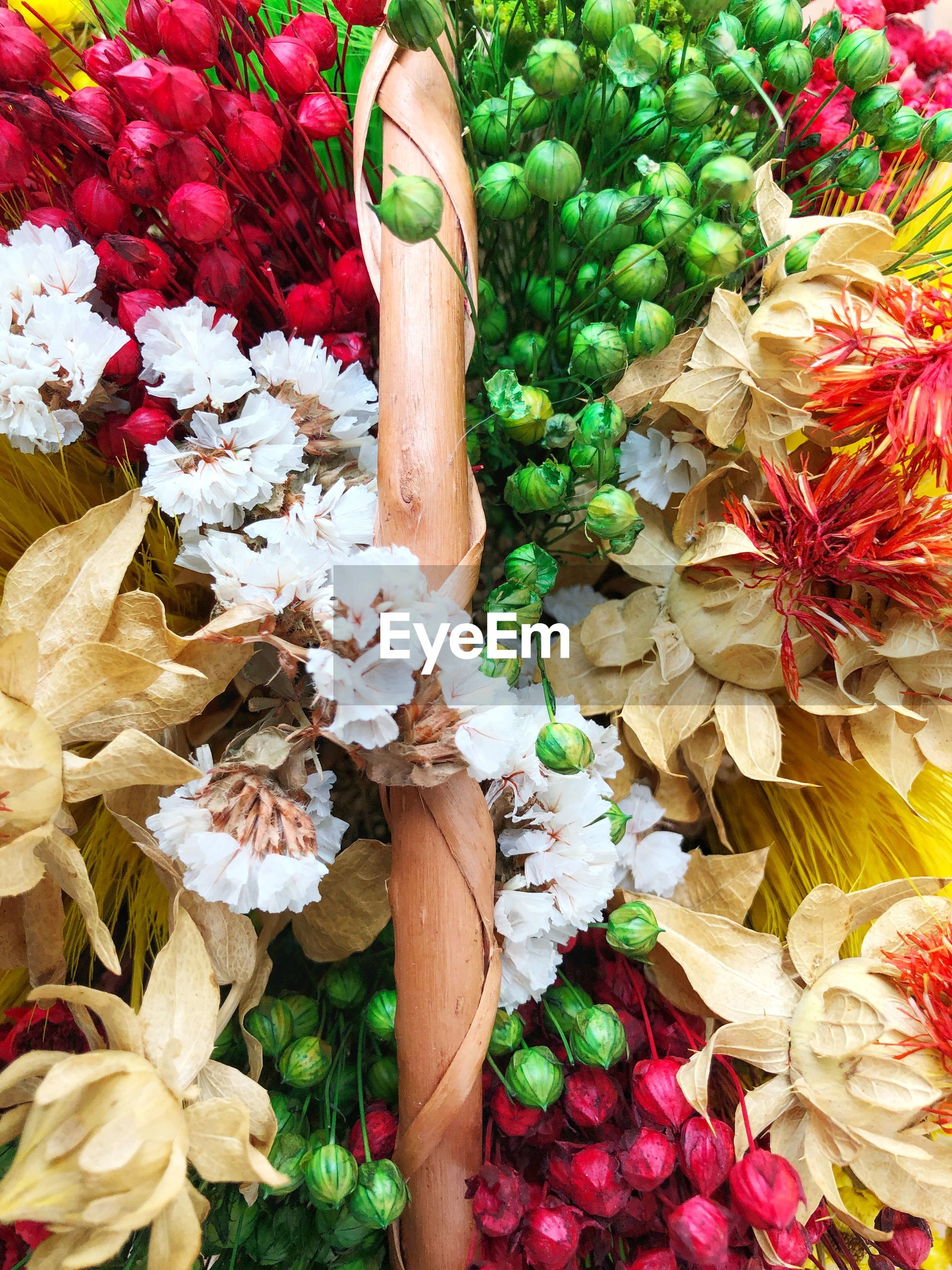 High angle view of drief flower bouquet