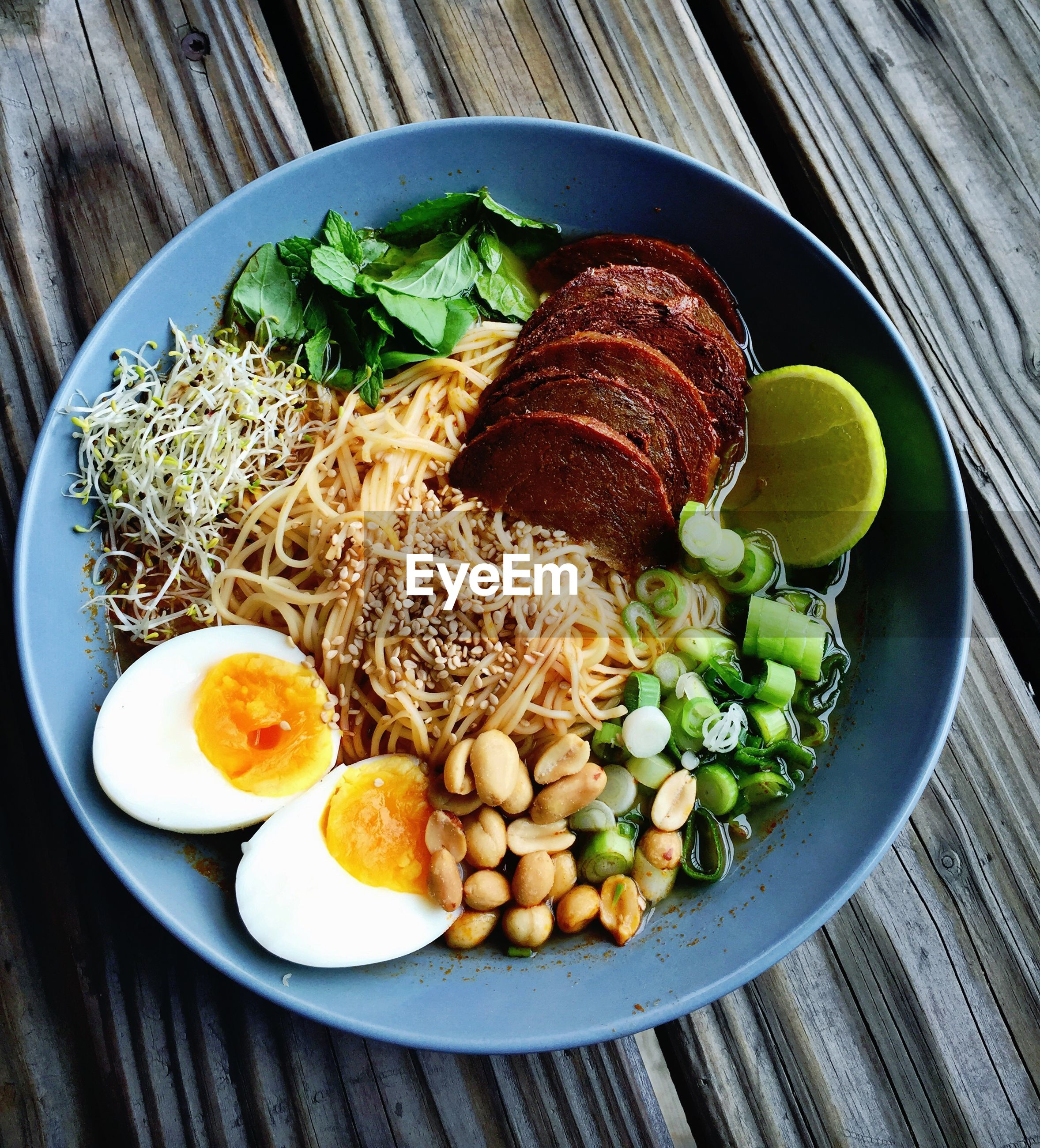 Directly above shot of breakfast in bowl on table