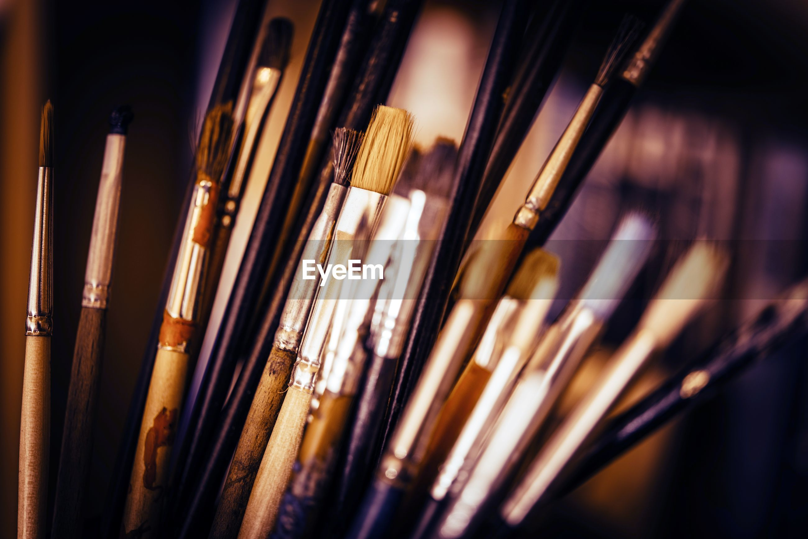 Close-up of various paintbrushes