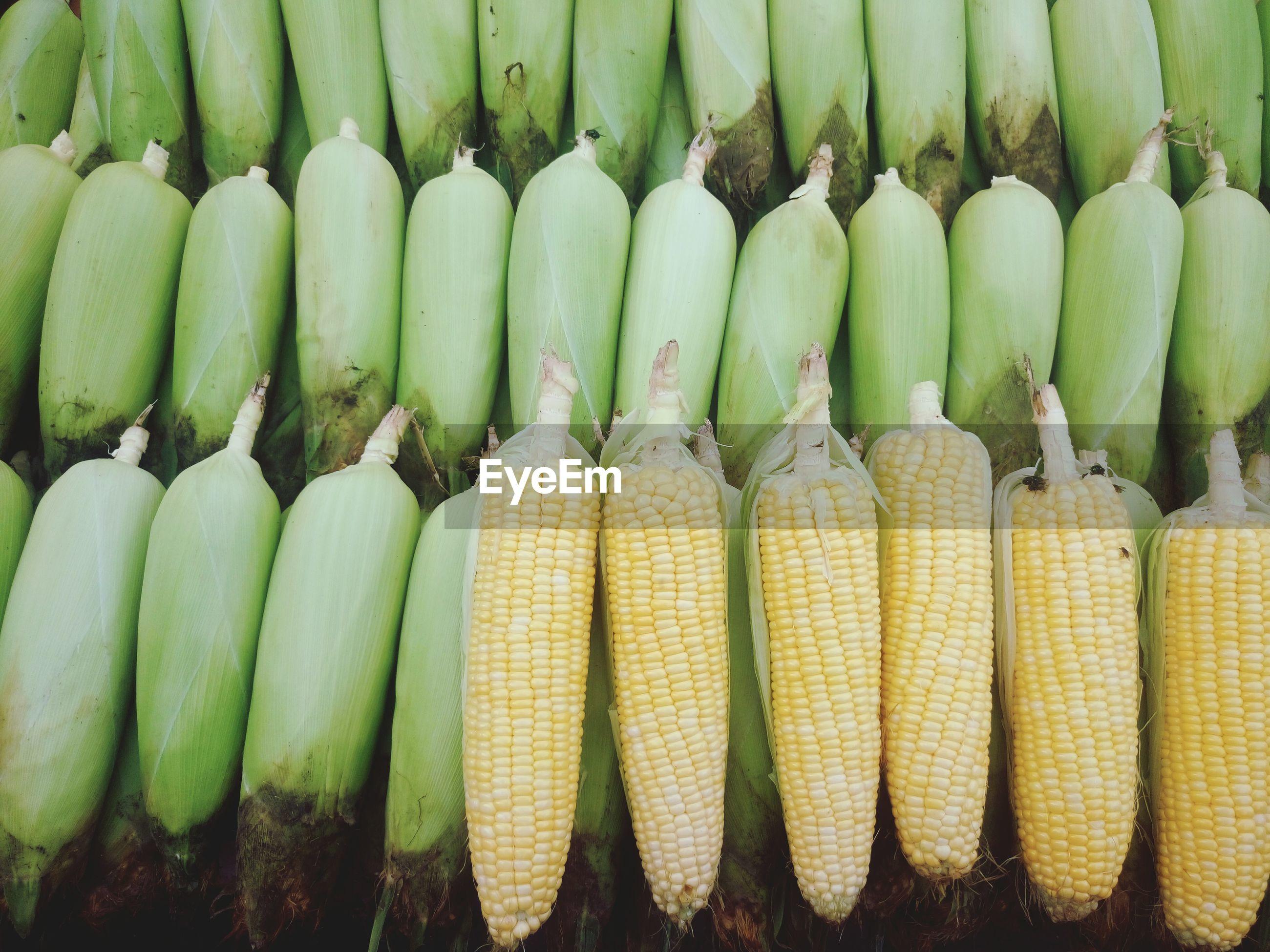 High angle view of corns at market stall