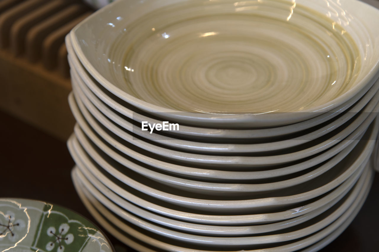High Angle View Of Ceramic Dishes On Table