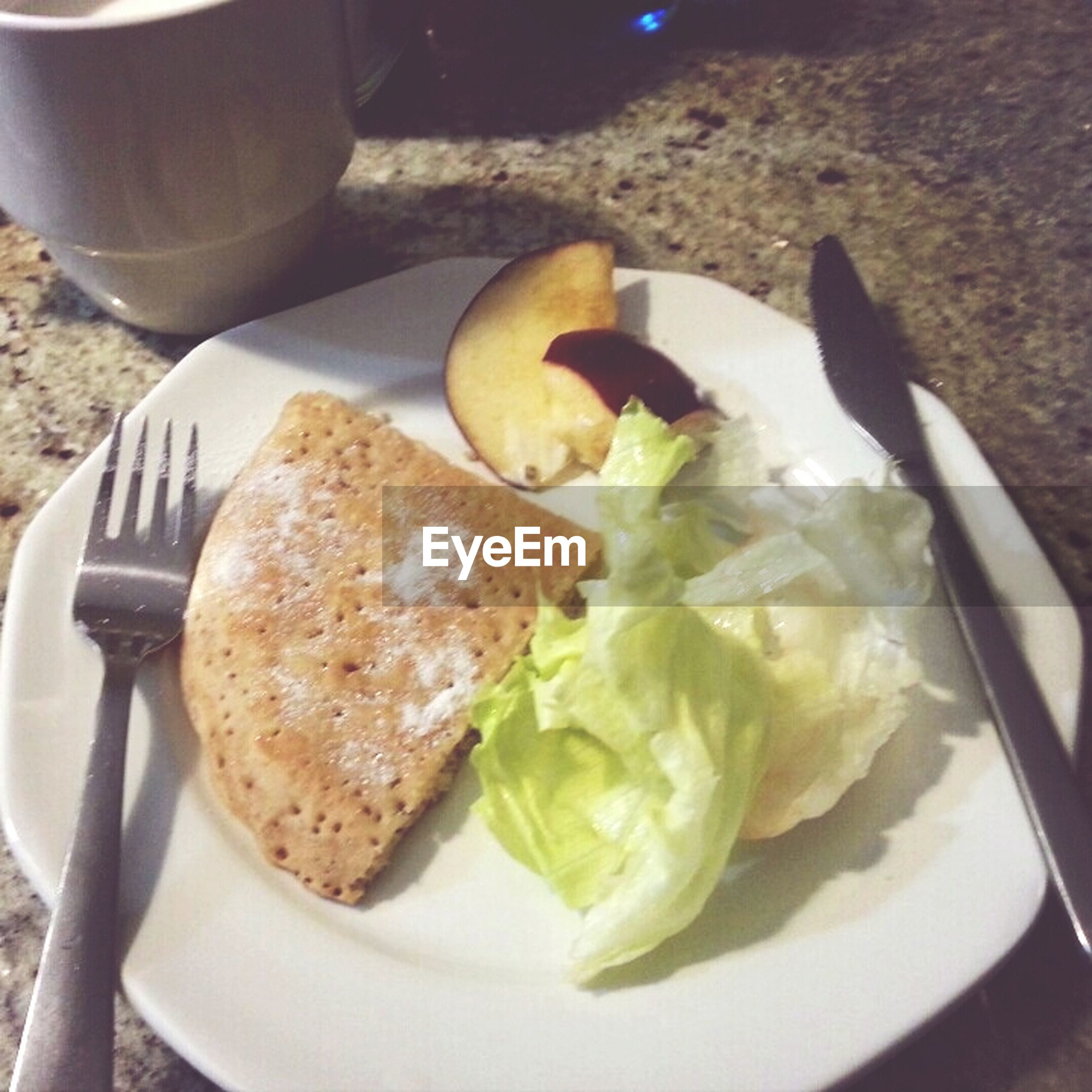food and drink, food, freshness, ready-to-eat, plate, indoors, still life, healthy eating, serving size, table, close-up, bread, high angle view, indulgence, meal, served, breakfast, bowl, fork, spoon