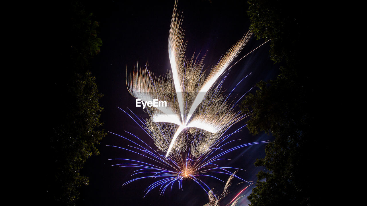 night, firework, motion, illuminated, celebration, event, firework display, long exposure, sky, exploding, arts culture and entertainment, glowing, light, nature, firework - man made object, blurred motion, no people, low angle view, sparks, outdoors, dark