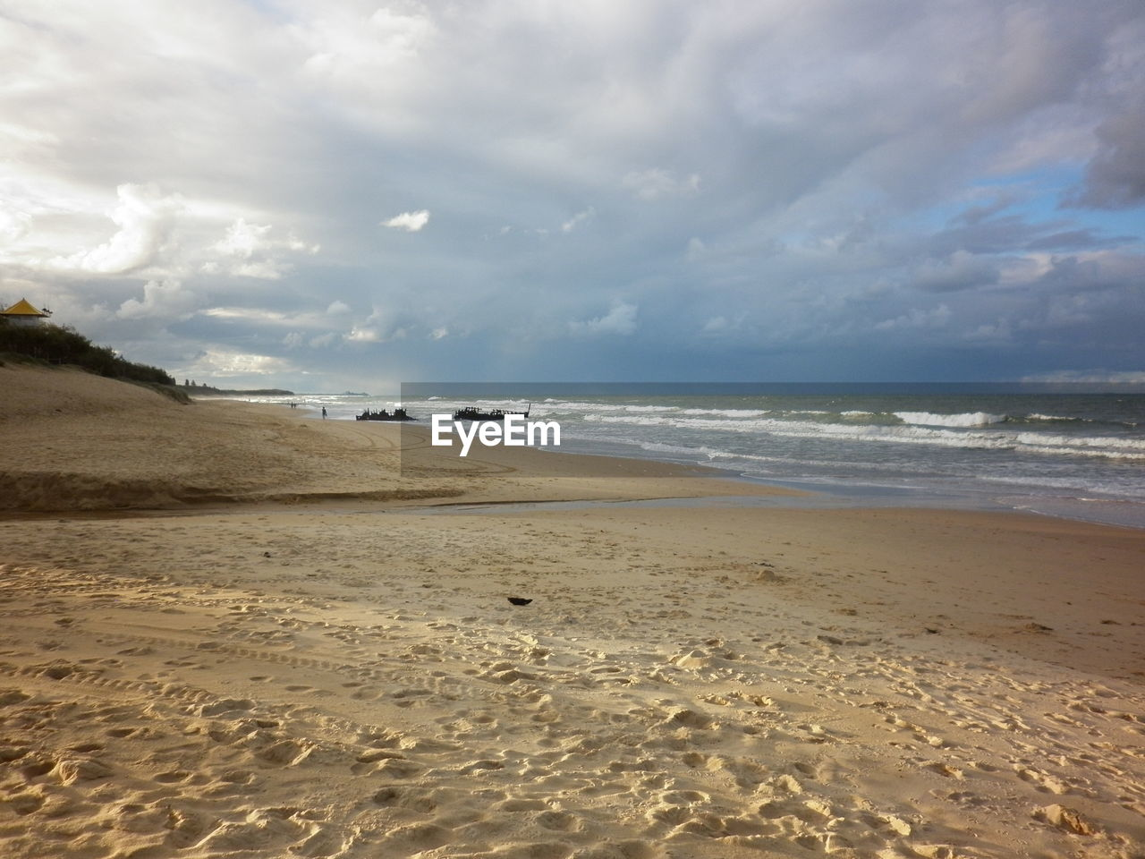 Landscape of cloudy beach
