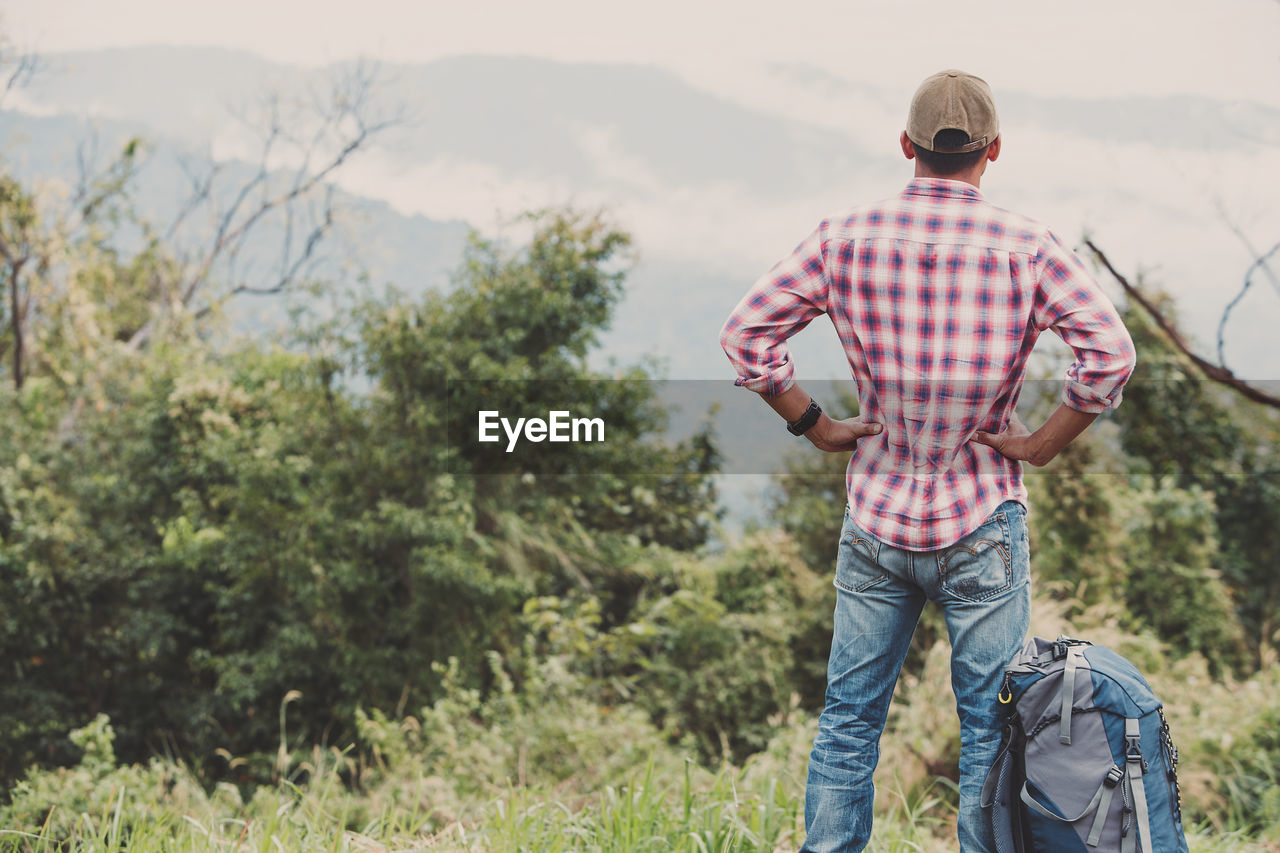 casual clothing, one person, real people, leisure activity, plant, tree, three quarter length, nature, lifestyles, standing, day, mountain, rear view, men, land, scenics - nature, focus on foreground, beauty in nature, growth, outdoors, jeans