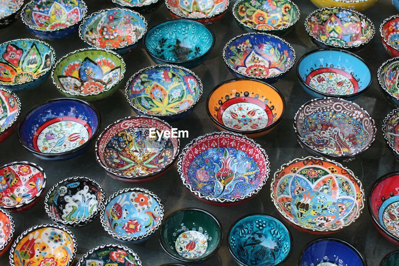 Full frame shot of multi colored bowls for sale in market