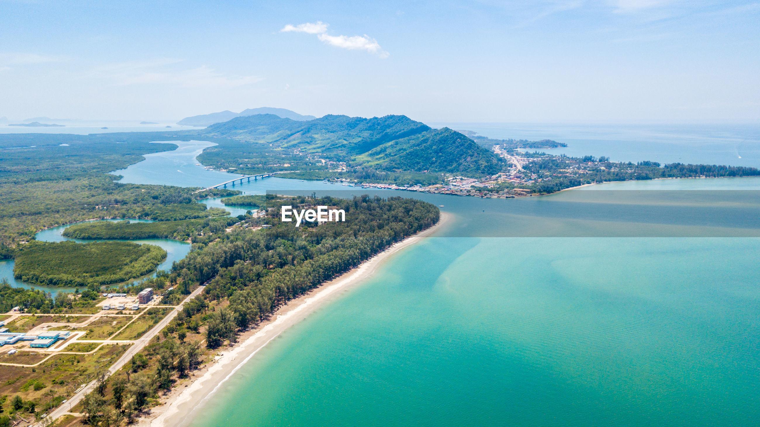 An aerial view of lanta noi island and lanta isaland