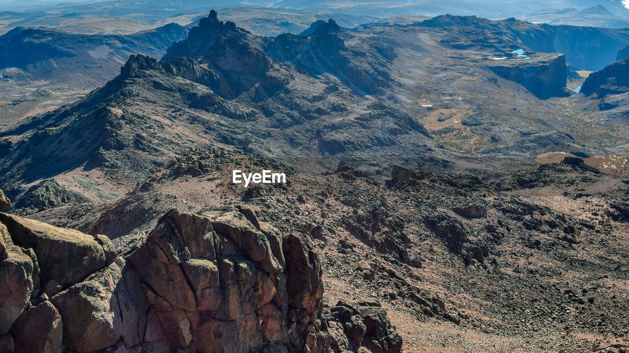 Aerial view of mountain range, mount kenya national park, kenya