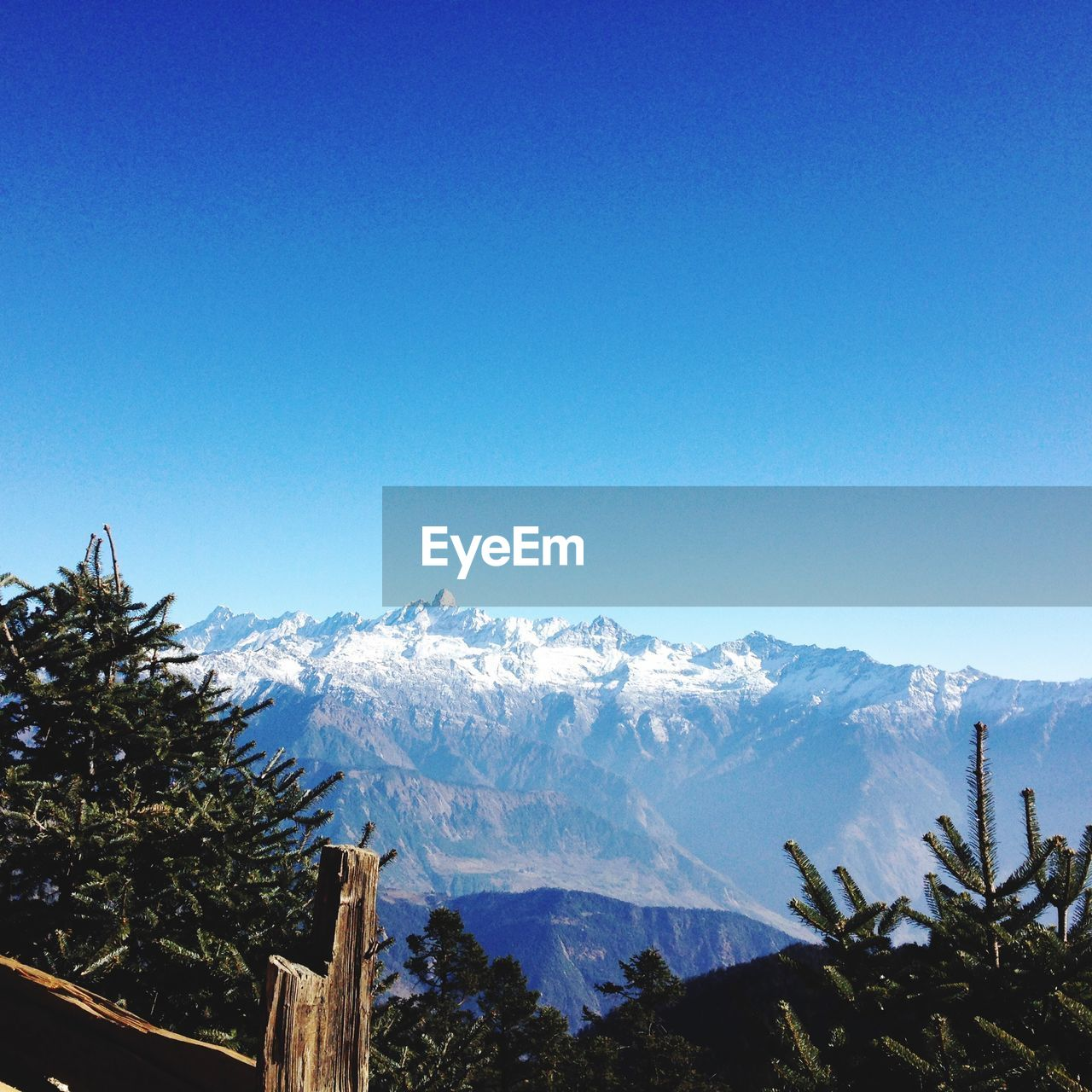 mountain, sky, tree, beauty in nature, winter, clear sky, scenics - nature, plant, cold temperature, tranquility, snow, blue, mountain range, nature, tranquil scene, copy space, no people, day, non-urban scene, snowcapped mountain, outdoors, mountain peak