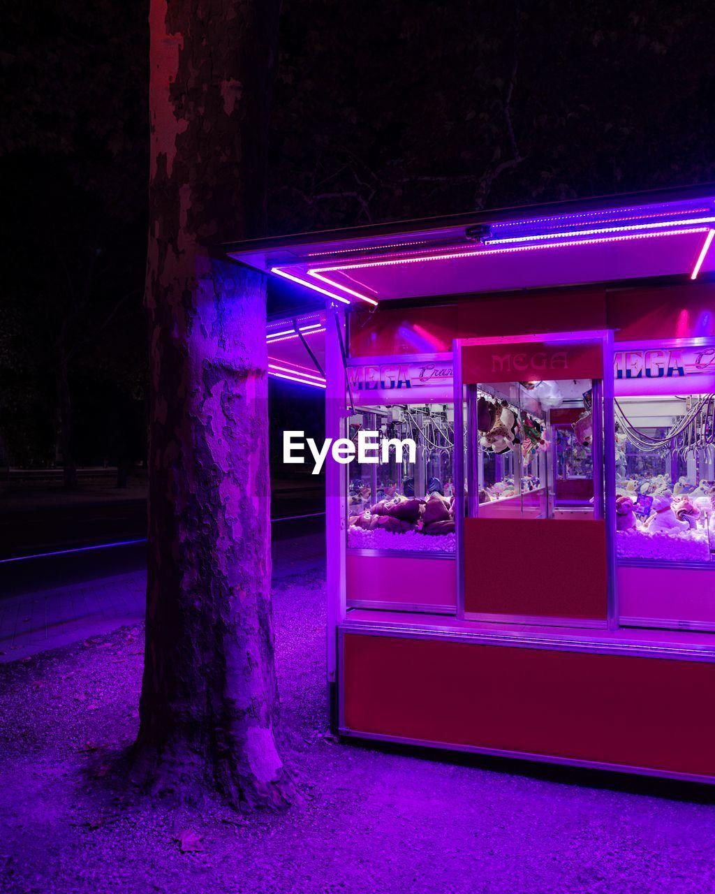 night, illuminated, real people, purple, outdoors, architecture, neon