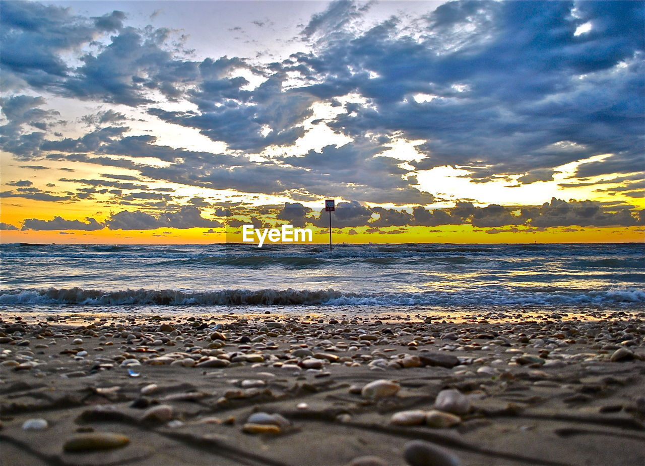 sunset, sky, scenics, water, nature, sea, cloud - sky, beauty in nature, beach, tranquility, no people, tranquil scene, outdoors, yellow, horizon over water, day
