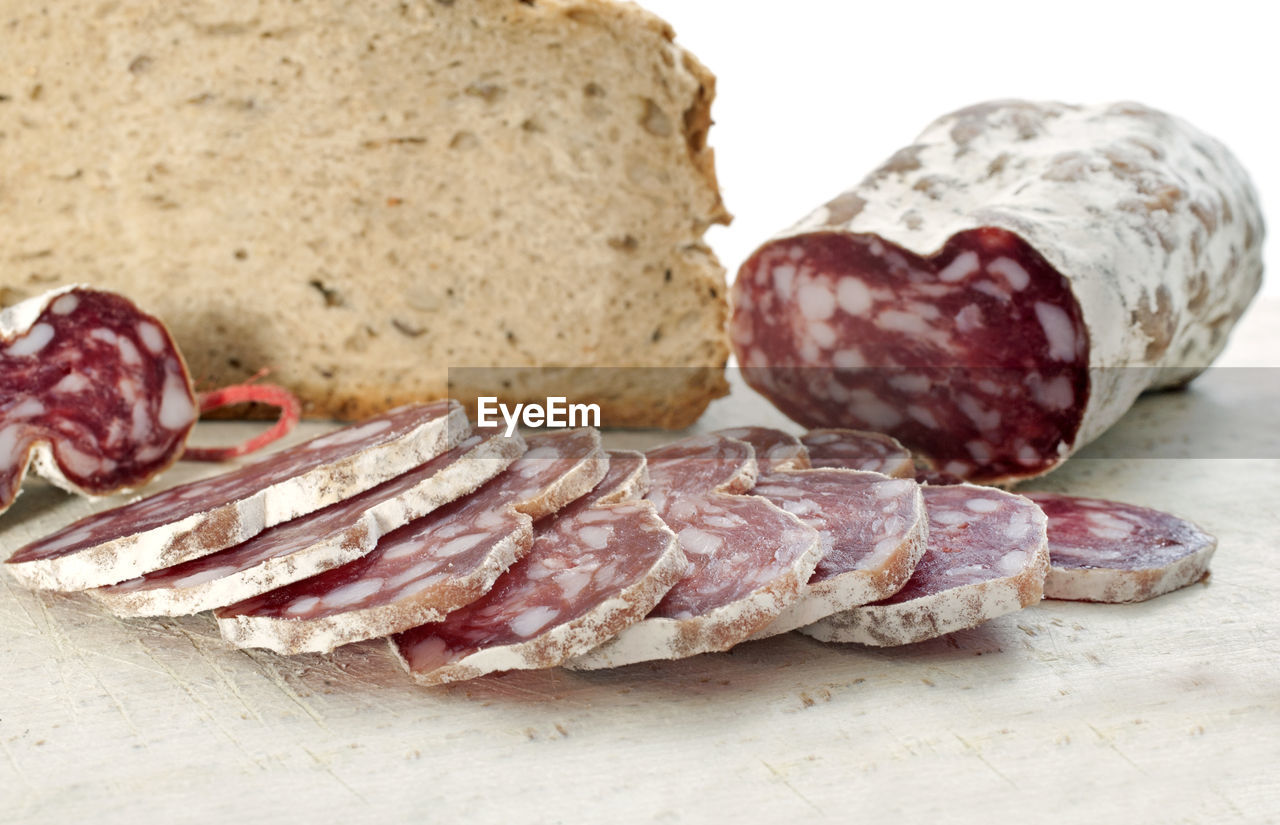 meat, food, food and drink, salami, bread, slice, pork, close-up, sausage, freshness, no people, indoors, day