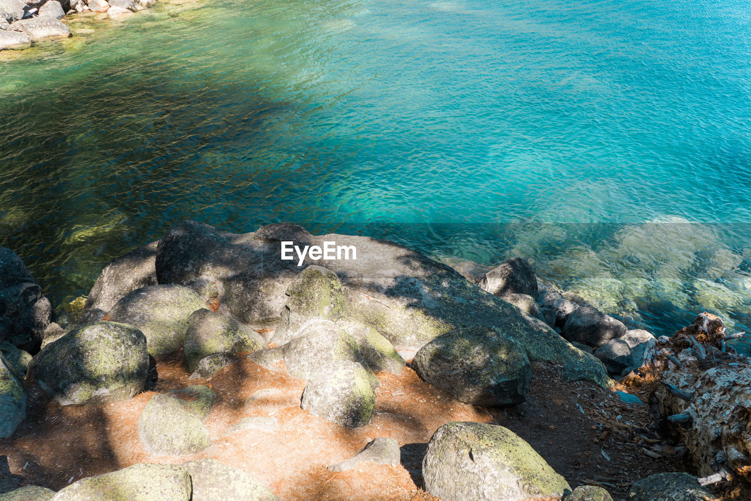 High angle view of rocks on shore in lake tahoe