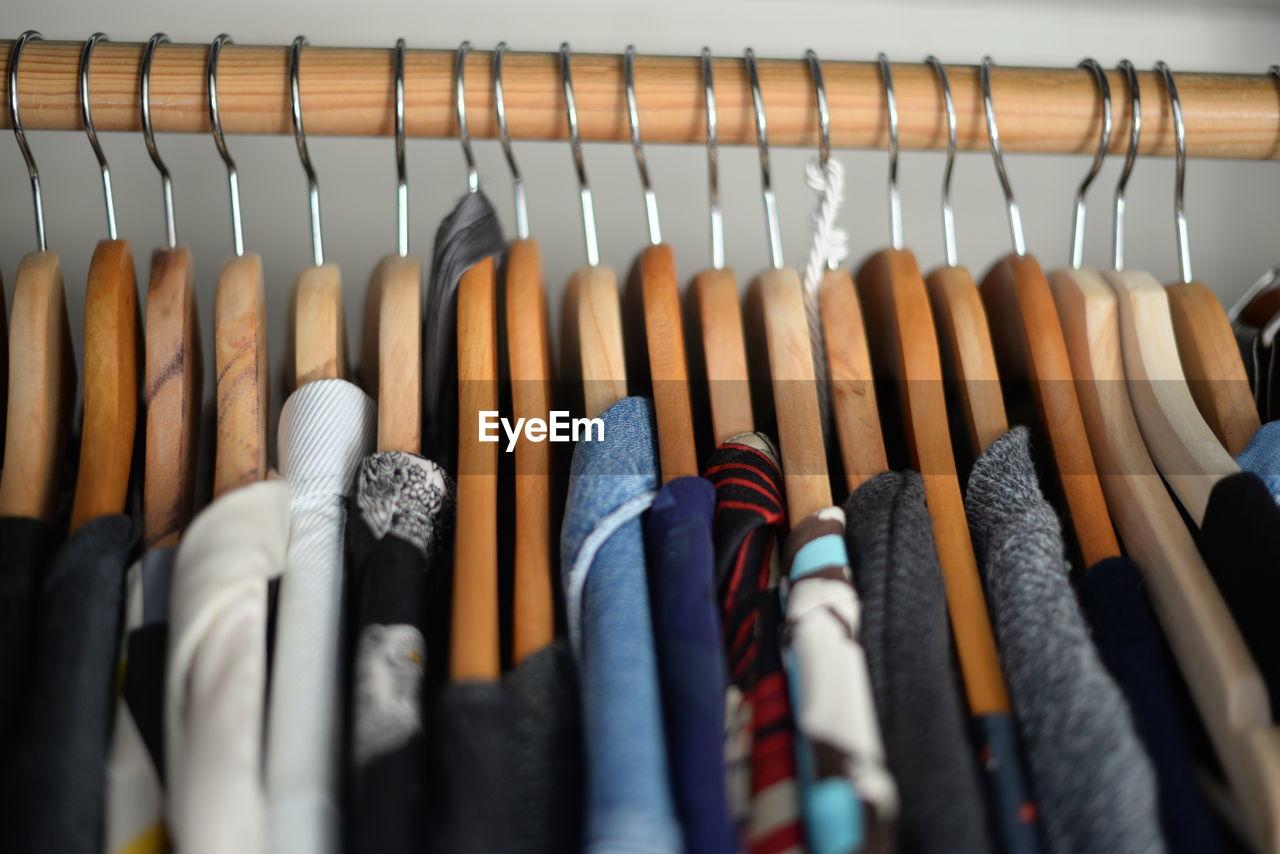 Clothing Hanging On Coathangers