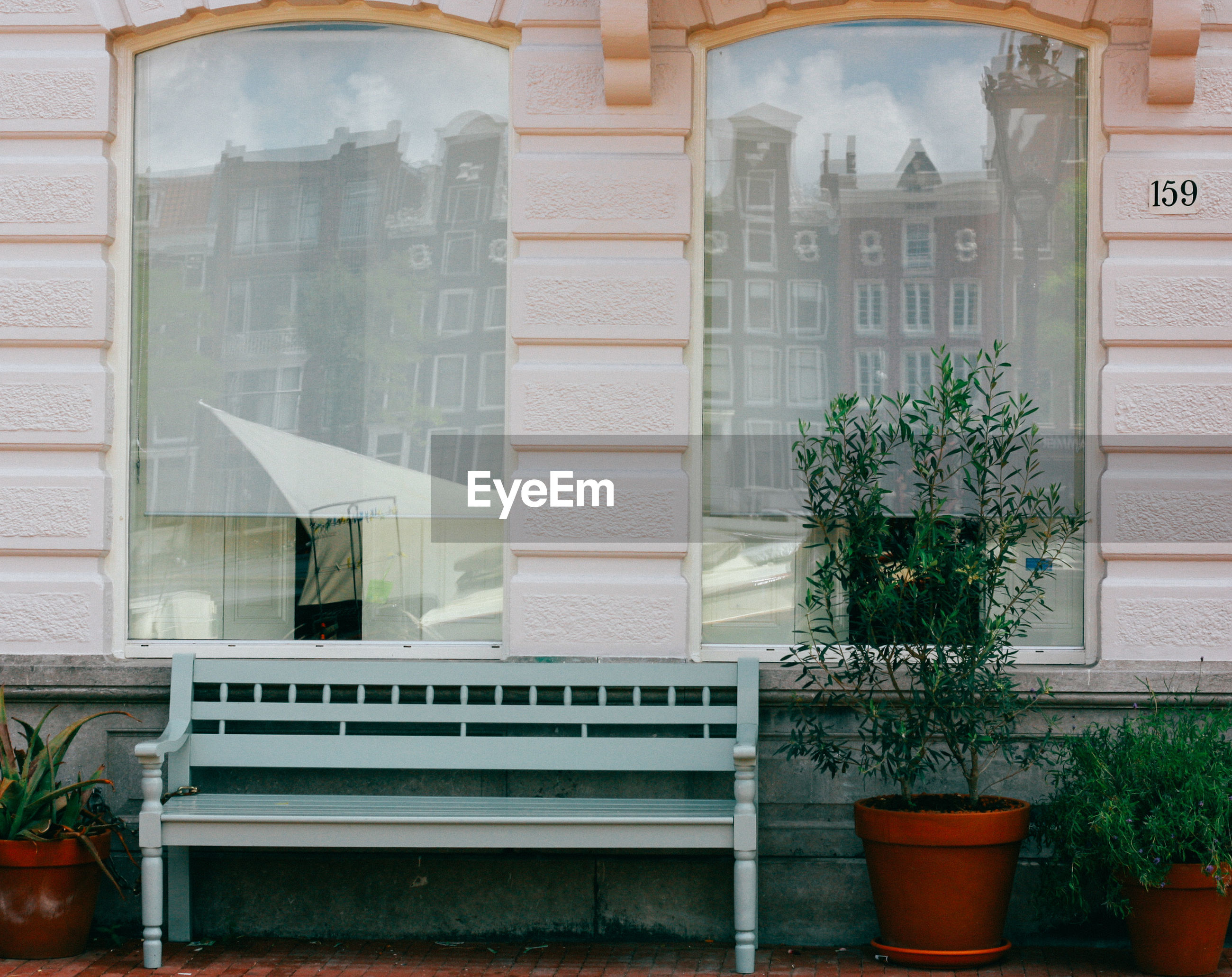 Bench and potted plants by window