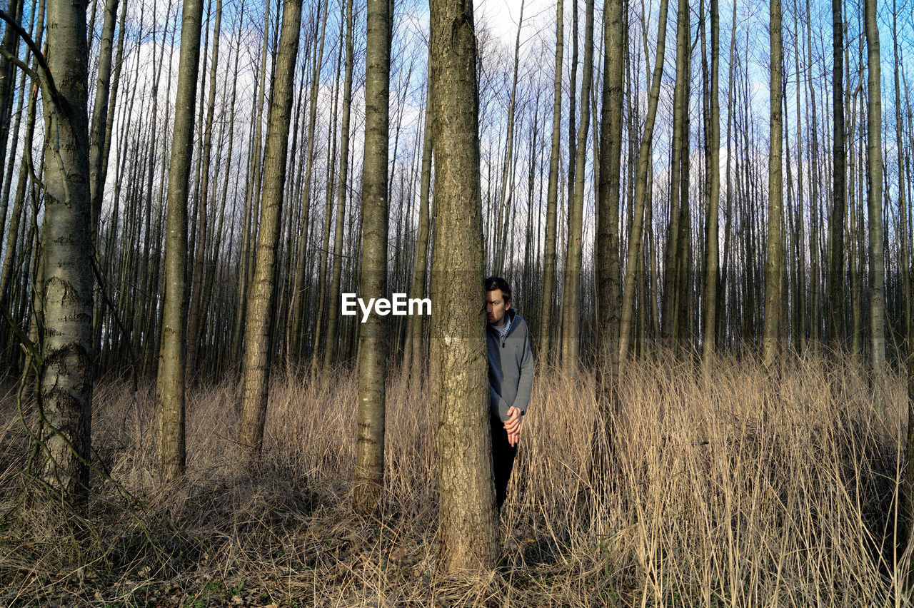 Man Standing Behind Tree In Forest Against Sky