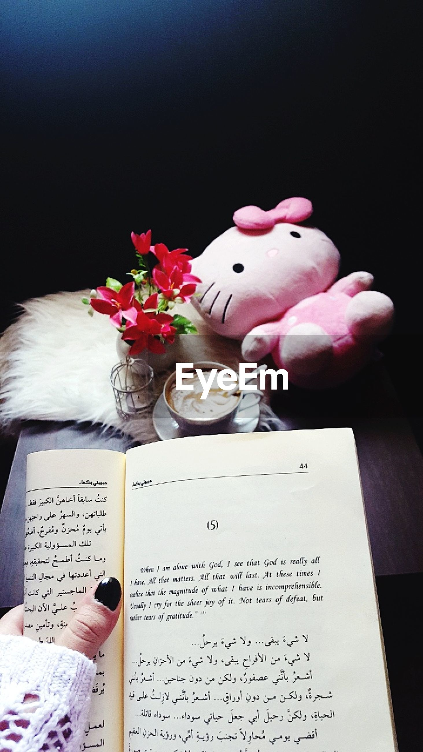 book, flower, indoors, table, communication, no people, pink color, education, close-up, day