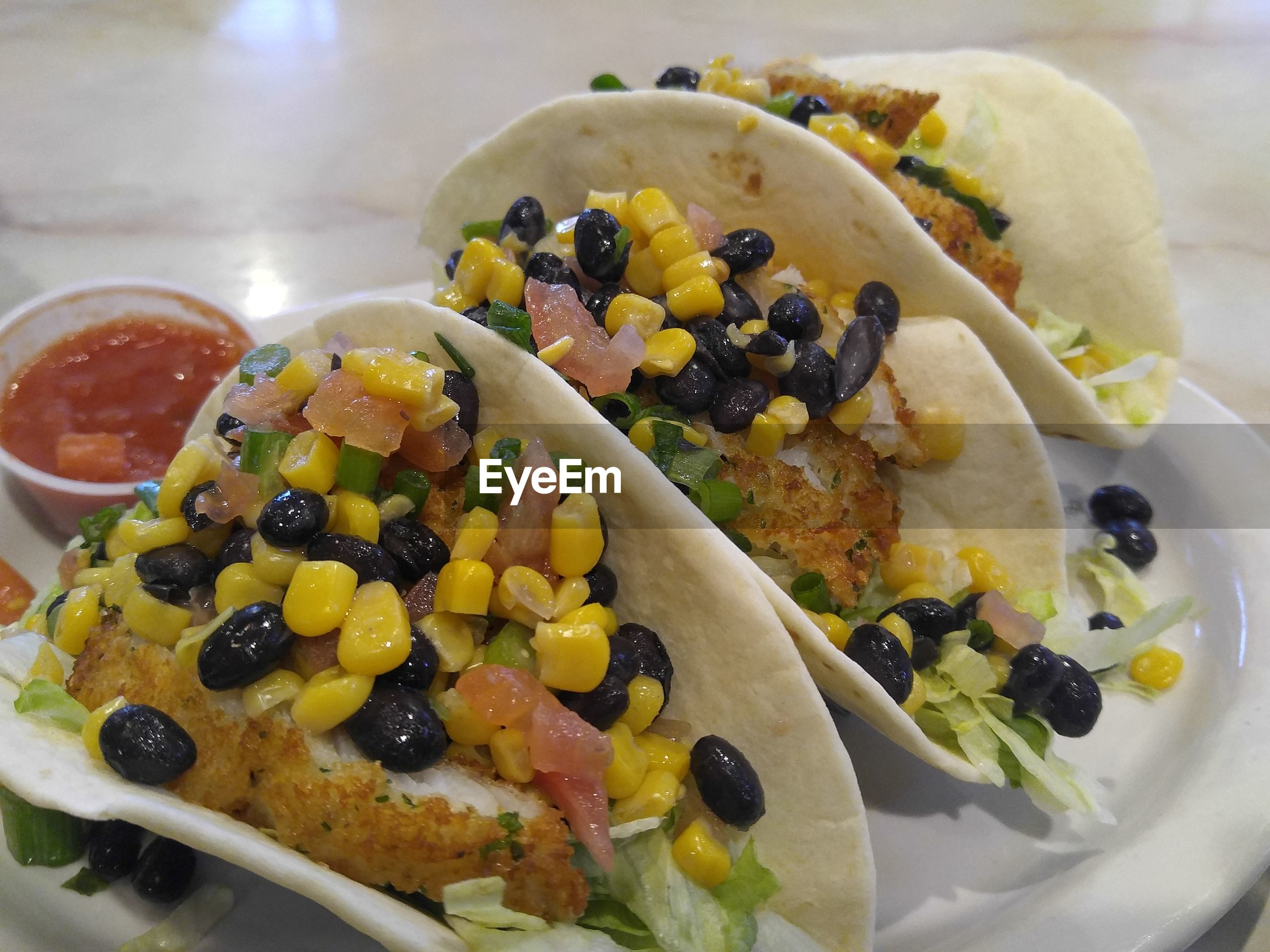 High angle view of tacos in plate