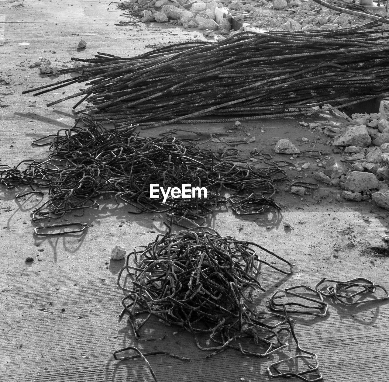 messy, tangled, high angle view, wood - material, no people, fishing net, day, complexity, outdoors, close-up, nature