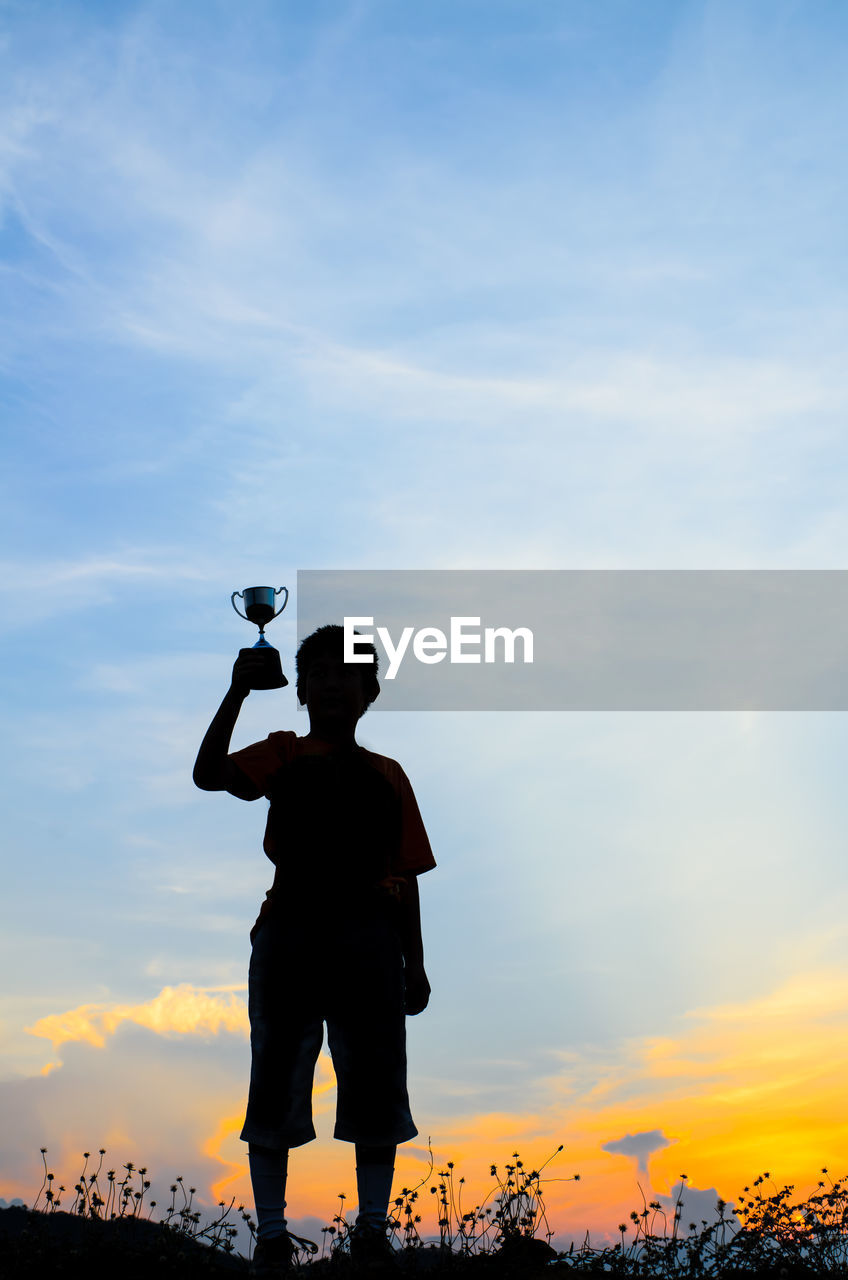 Silhouette Boy With Trophy Standing Against Sky