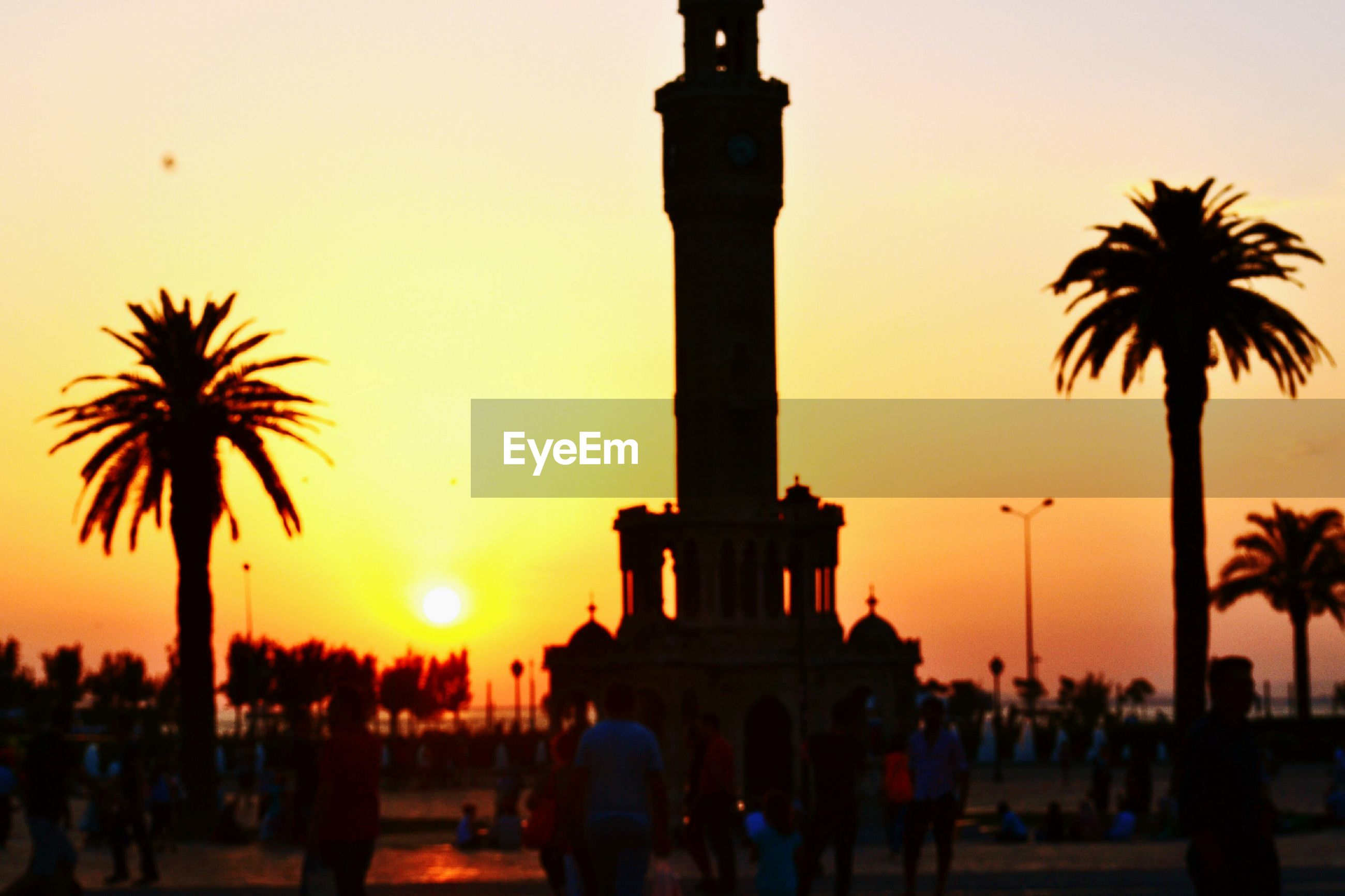 large group of people, sunset, travel destinations, silhouette, real people, architecture, travel, outdoors, mixed age range, men, built structure, tourism, sky, palm tree, building exterior, leisure activity, tree, statue, sculpture, day