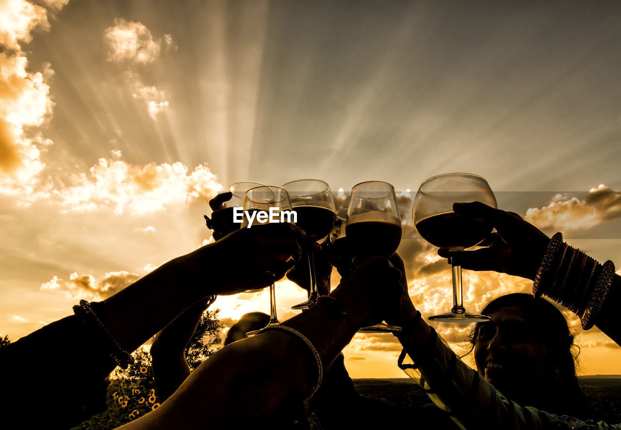 People Toasting Drinks Against Sky During Sunset